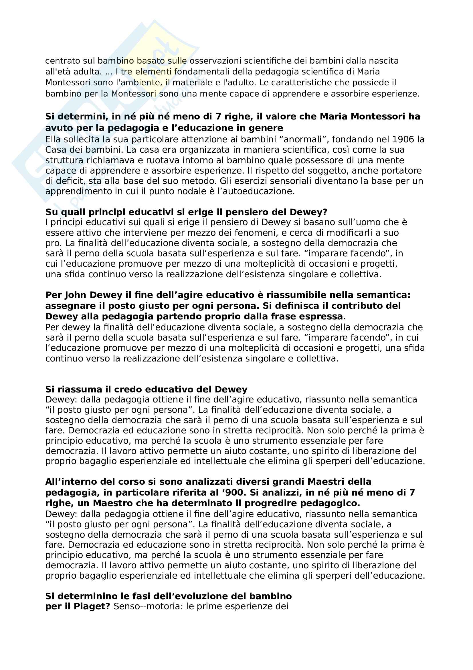 Paniere domande multiple pedagogia generale e sociale Pag. 11