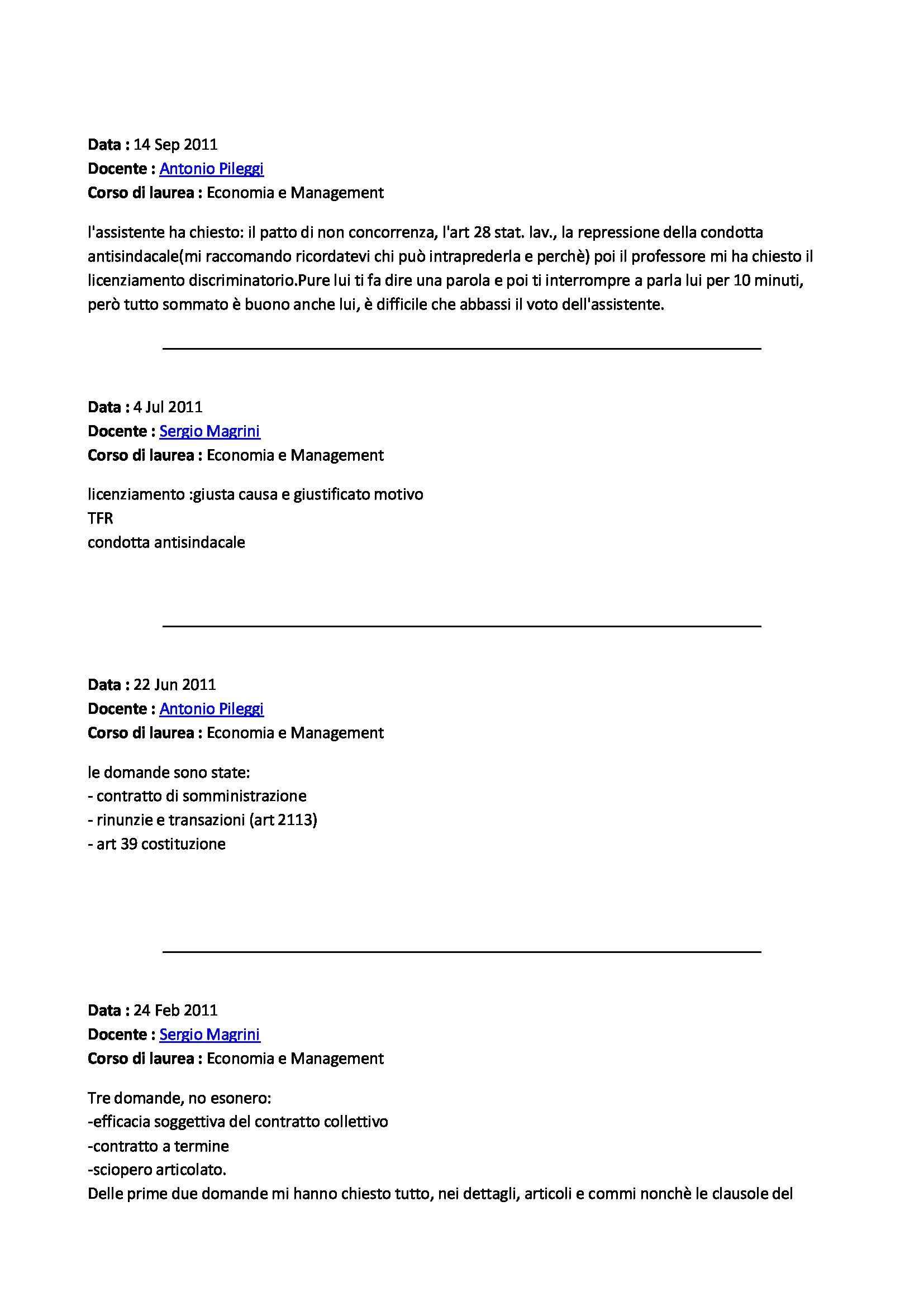 Diritto del lavoro - domande Pag. 2