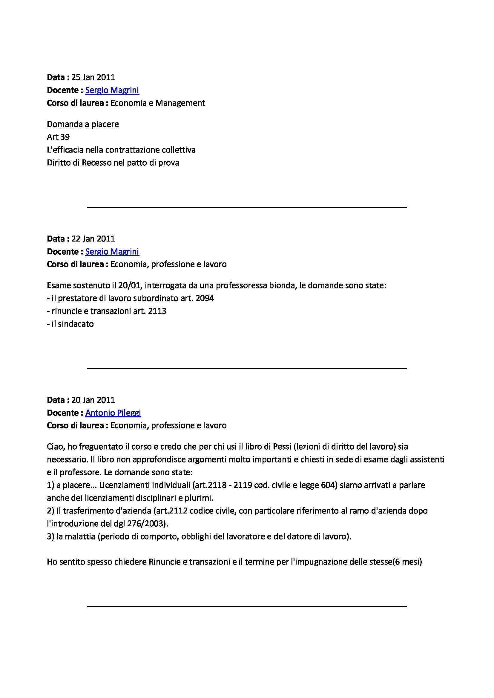 Diritto del lavoro - domande Pag. 6