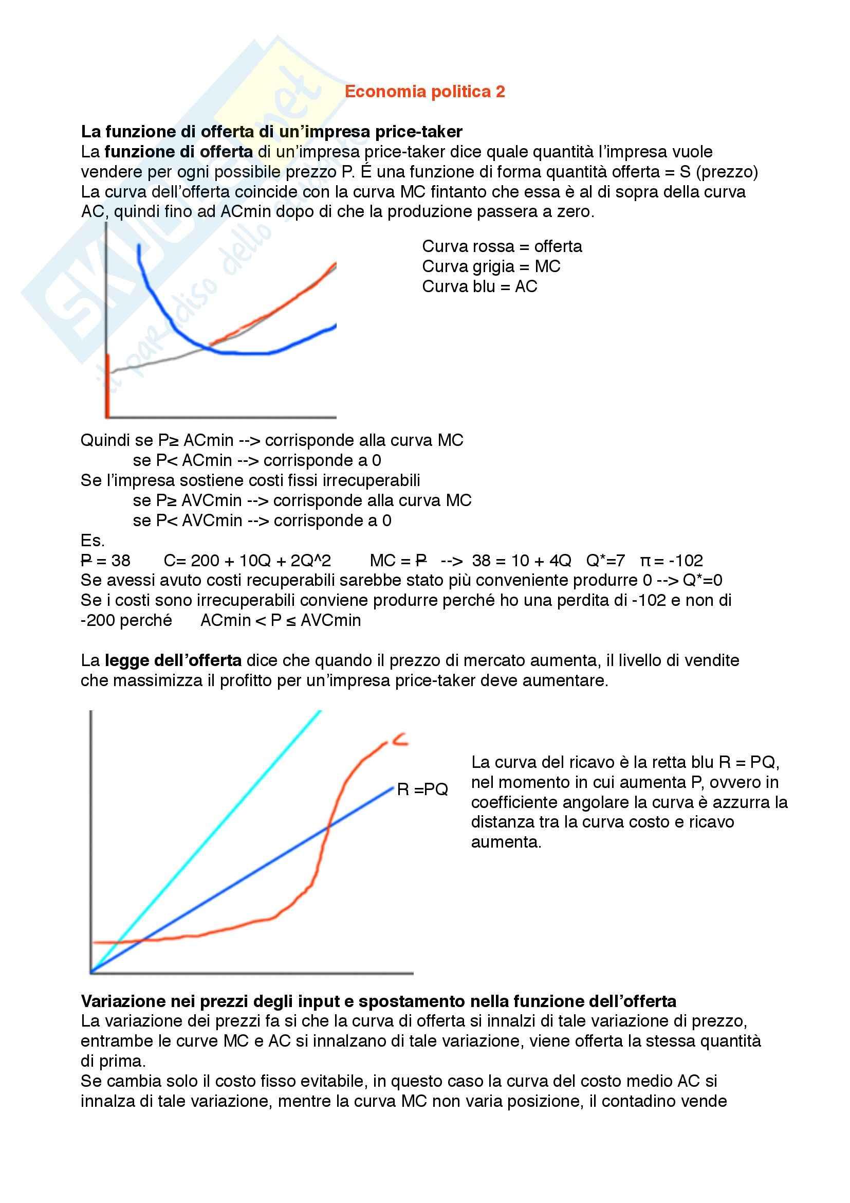 Lezioni seconda parte, Economia Politica