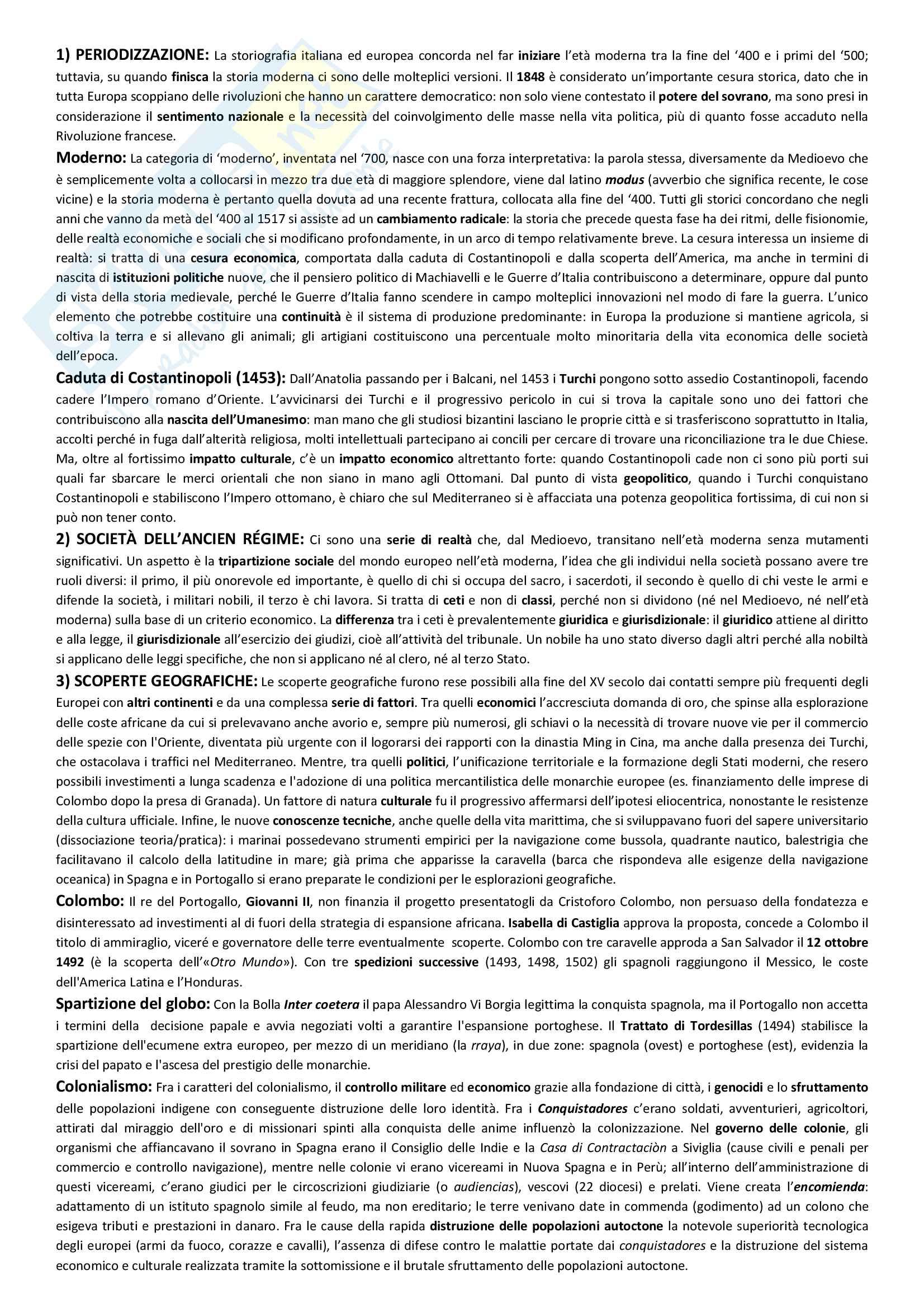 Storia moderna, Appunti - Regina Lupi