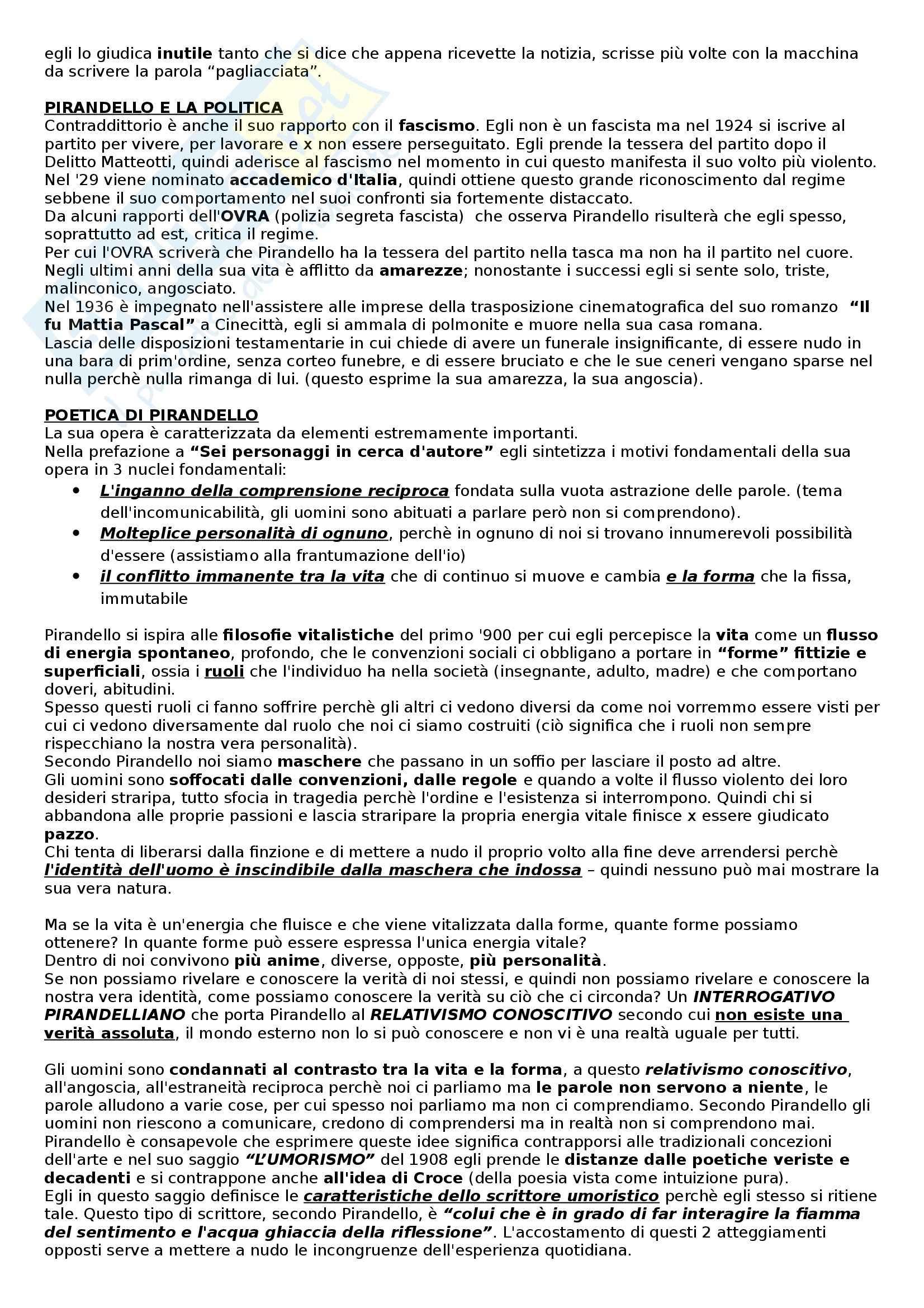 Pirandello, Vita pensiero e opere - Appunti Pag. 2