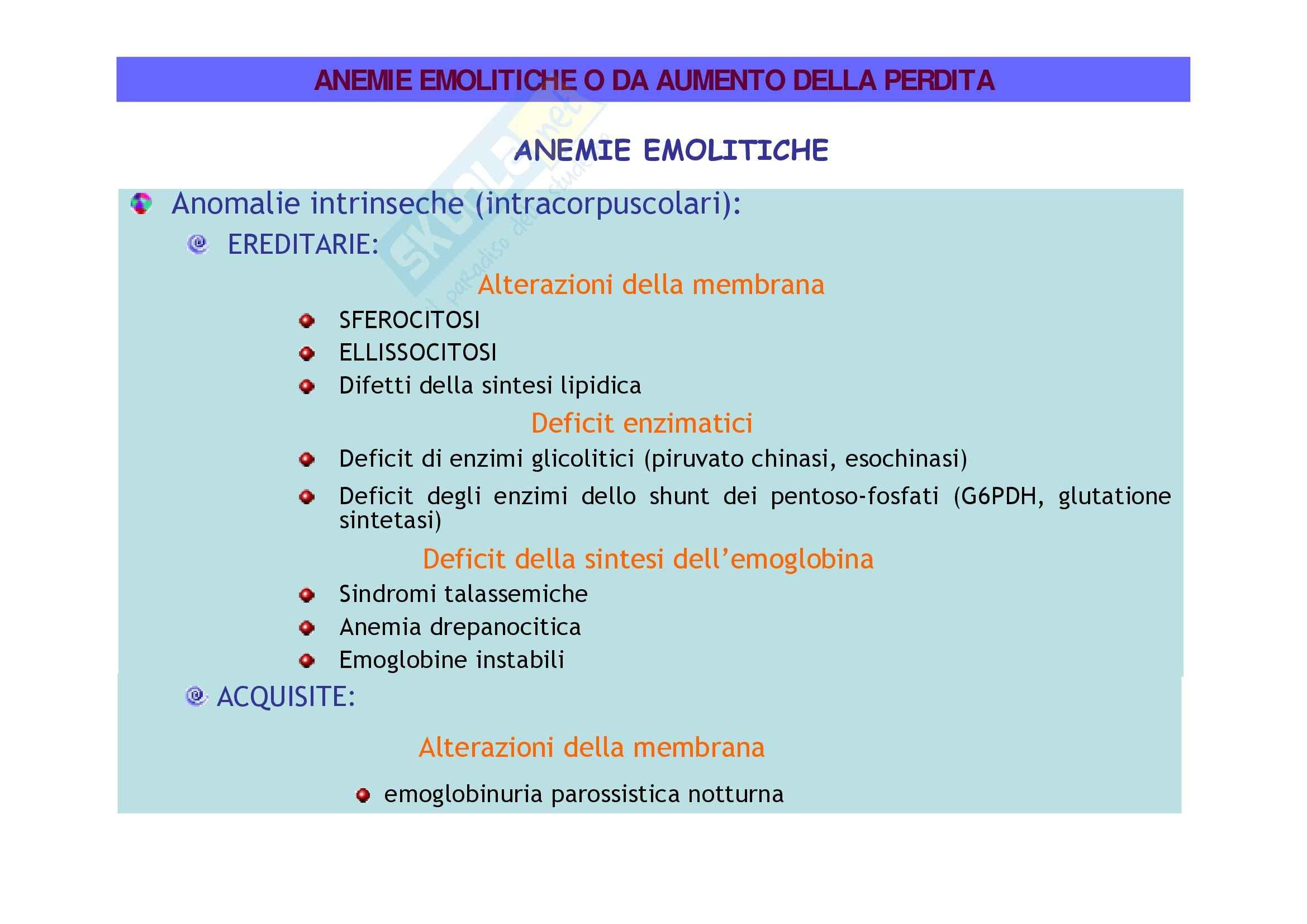Patologia e fisiopatologia generale – Anemie