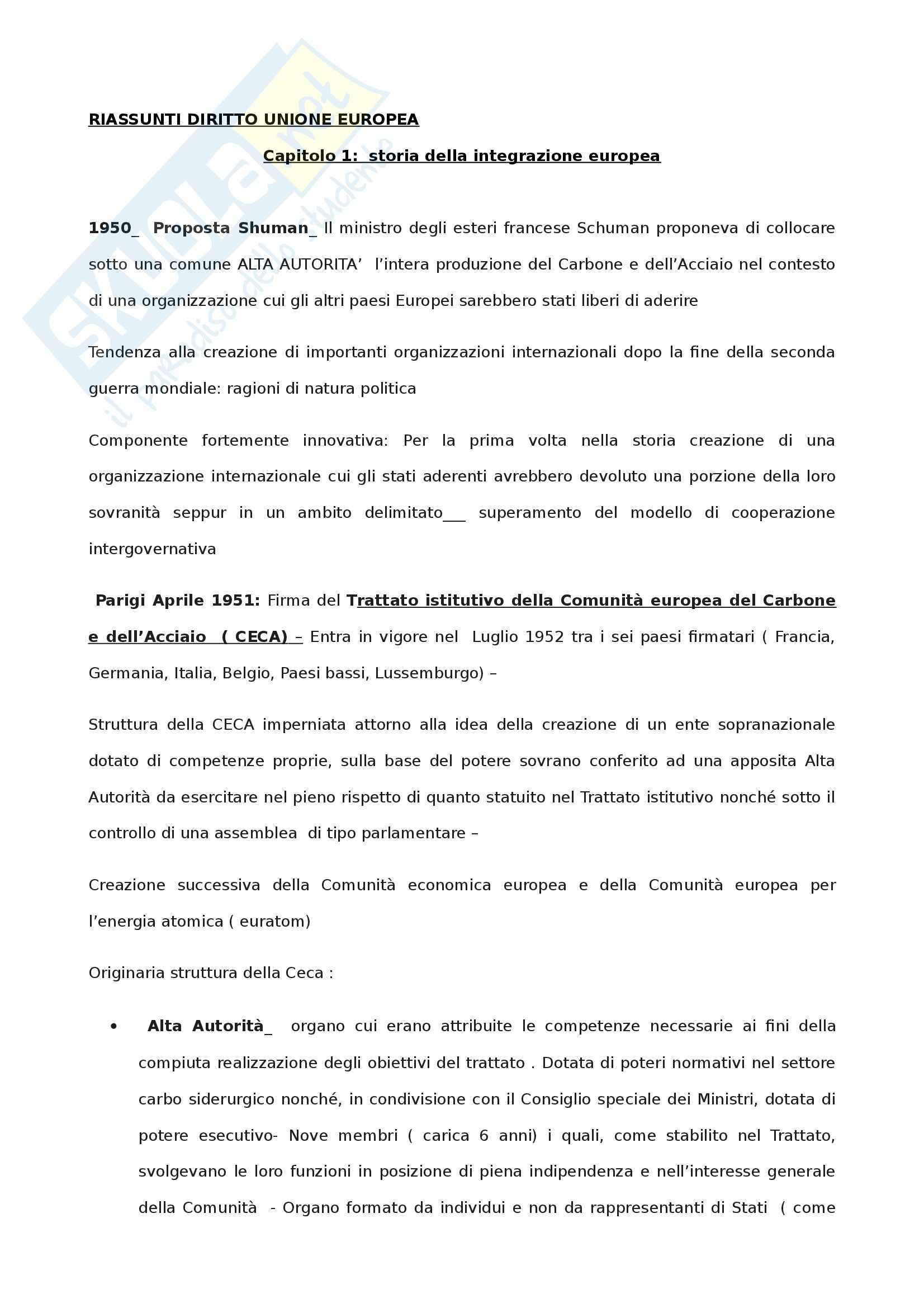 Diritto dell'Unione Europea - Riassunto esame, prof. Parisi