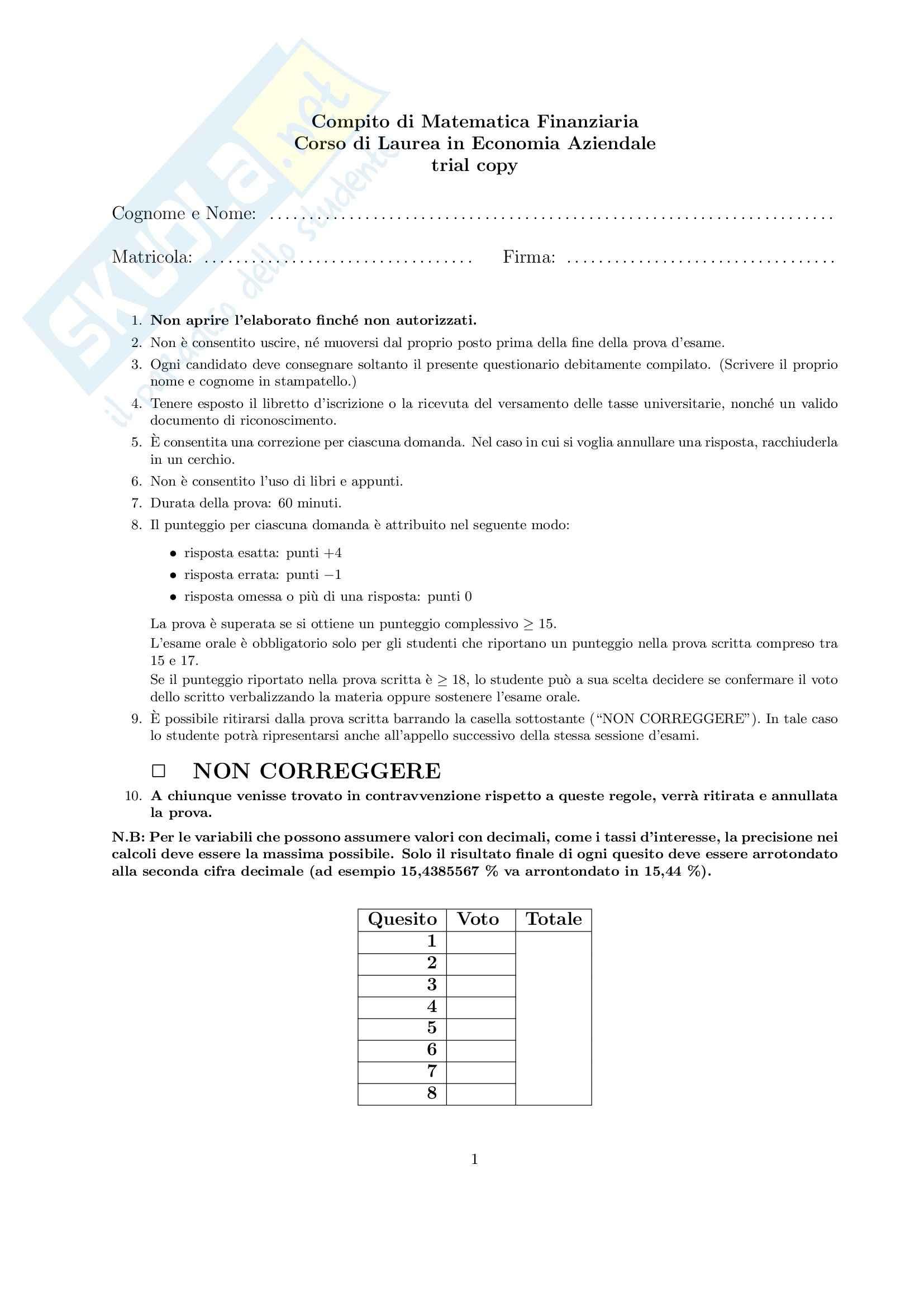 Matematica finanziaria - prova d'esame