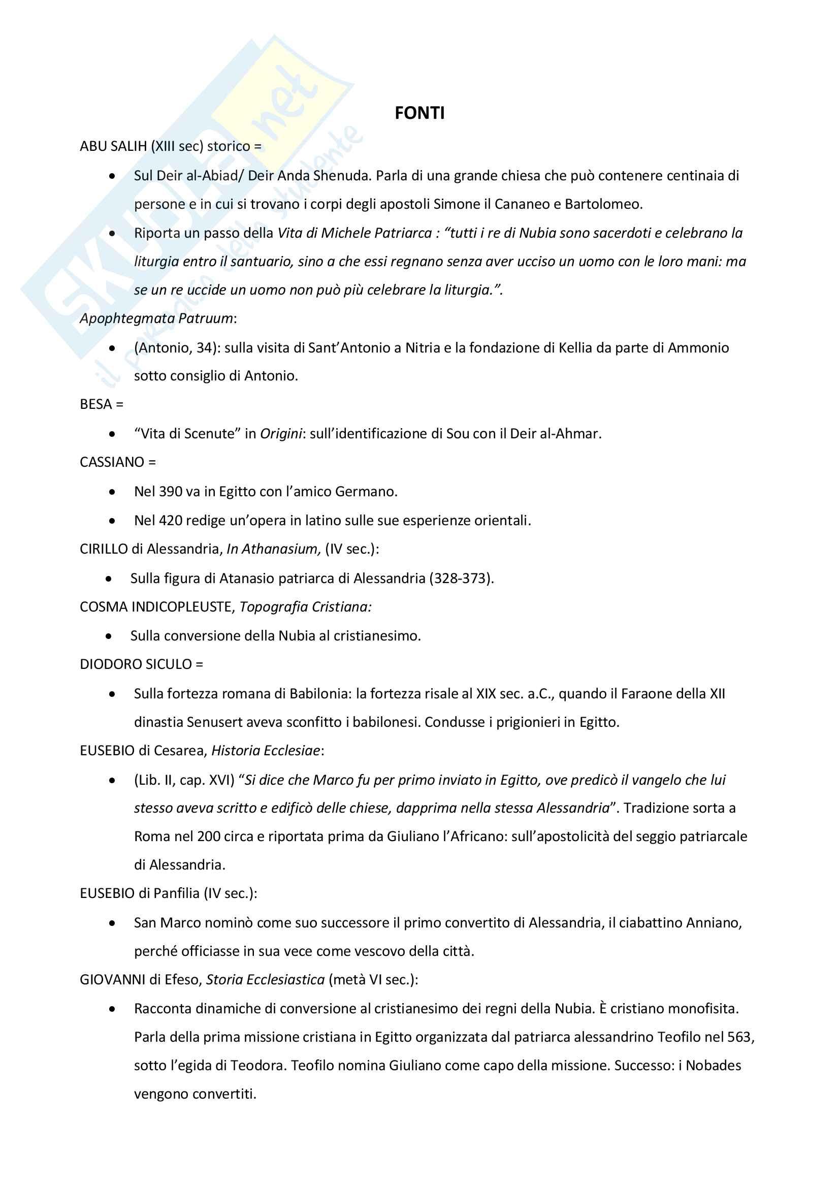 Fonti per lo studio del monachesimo egiziano