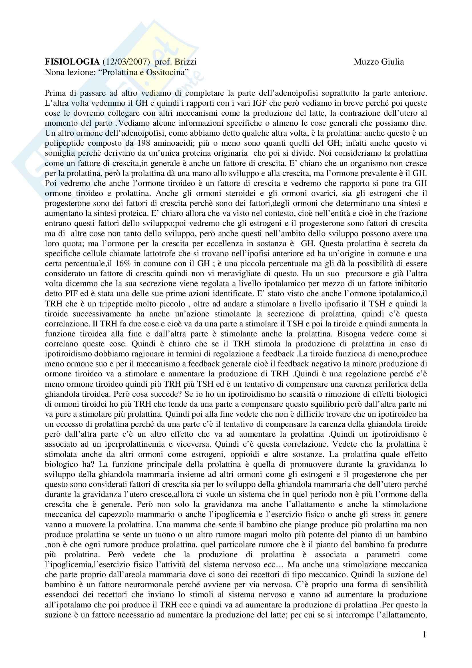 Fisiologia e biofisica - prolattina e ossitocina