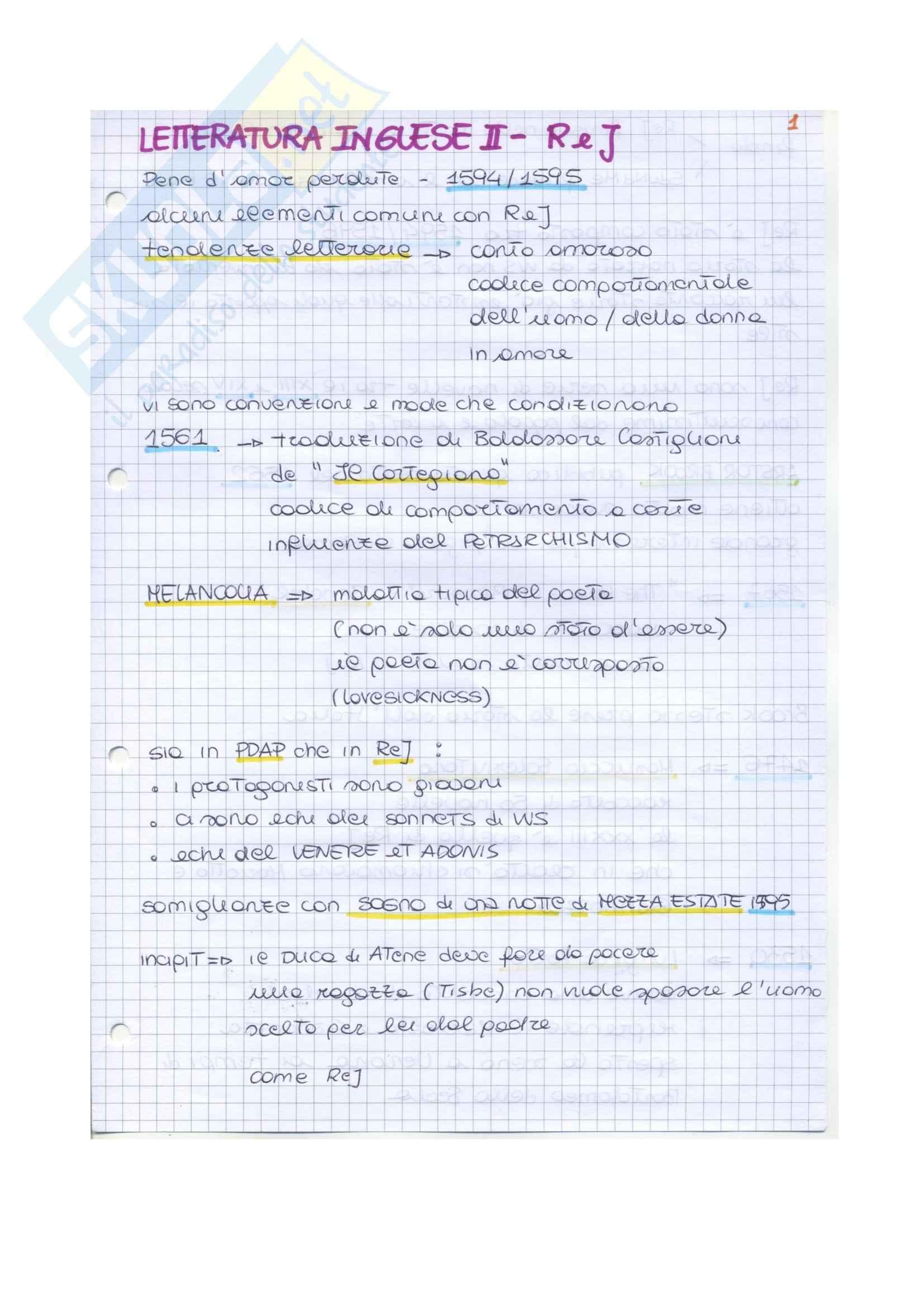 Riassunto esame Letteratura inglese II, prof. Vallaro, libro consigliato Romeo and Juliet, Shakespeare