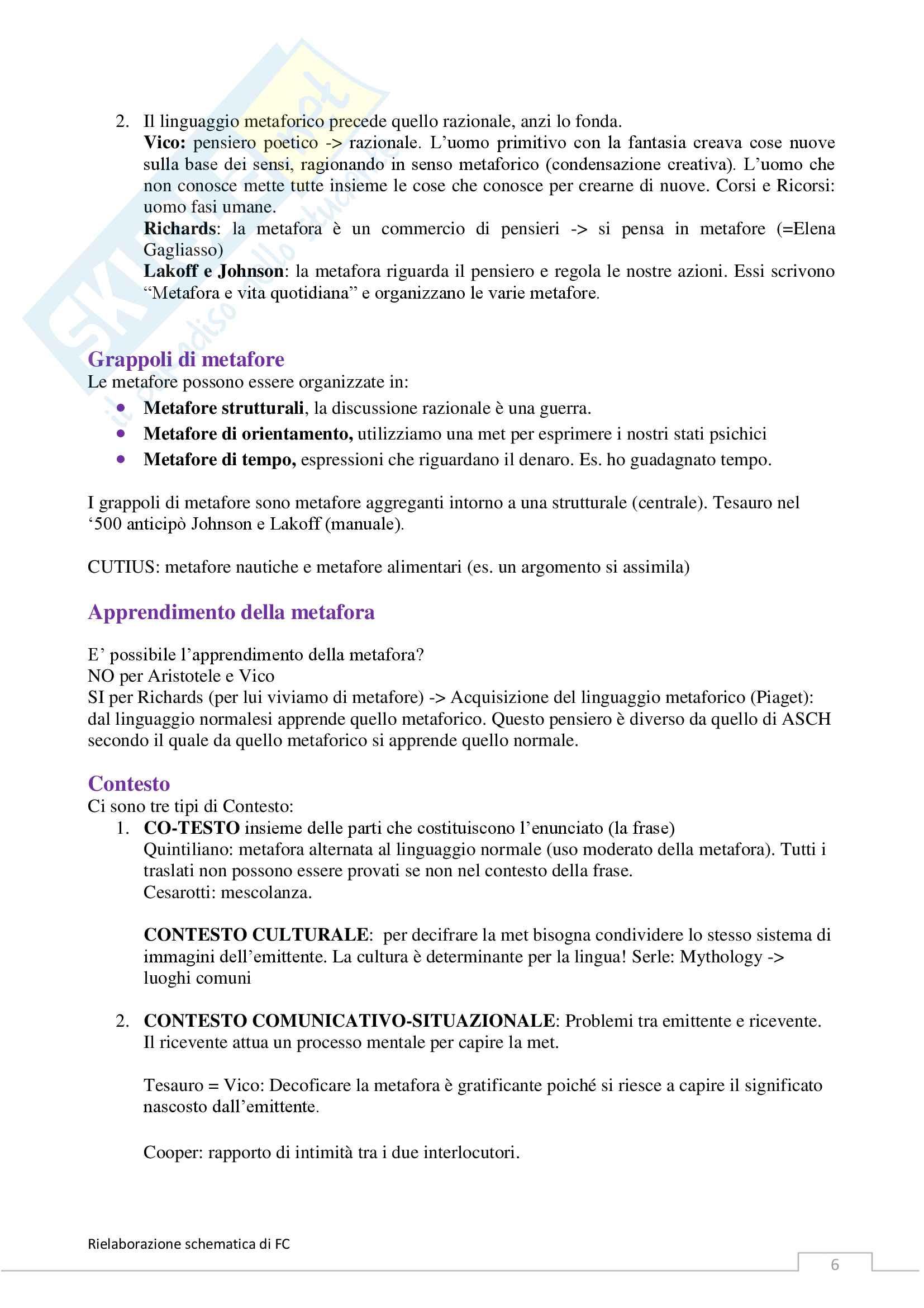 Riassunto esame Letteratura Italiana Contemporanea, prof. Ghiazza, libro consigliato La metafora tra scienza e letteratura, Ghiazza Pag. 6