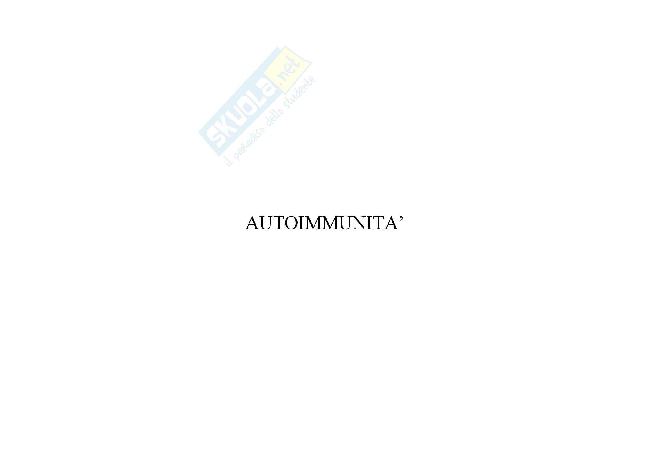 Immunologia - autoimmunità