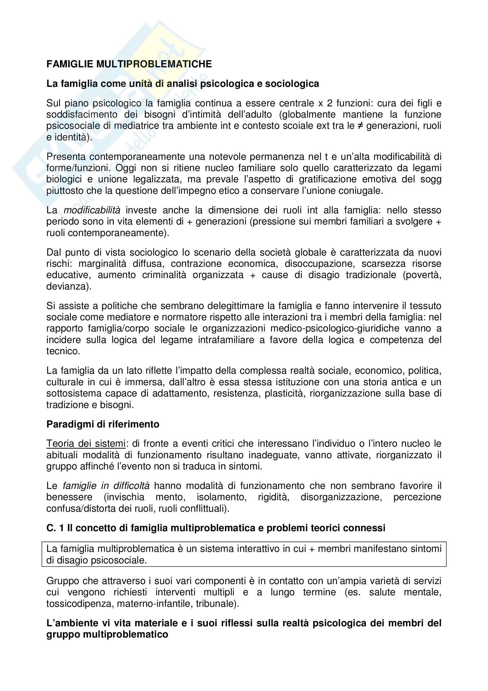 Riassunto esame Psicodinamica, prof. Arace, libro consigliato Famiglie multiproblematiche, MalagoliTogliatti, Rocchietta Tofani