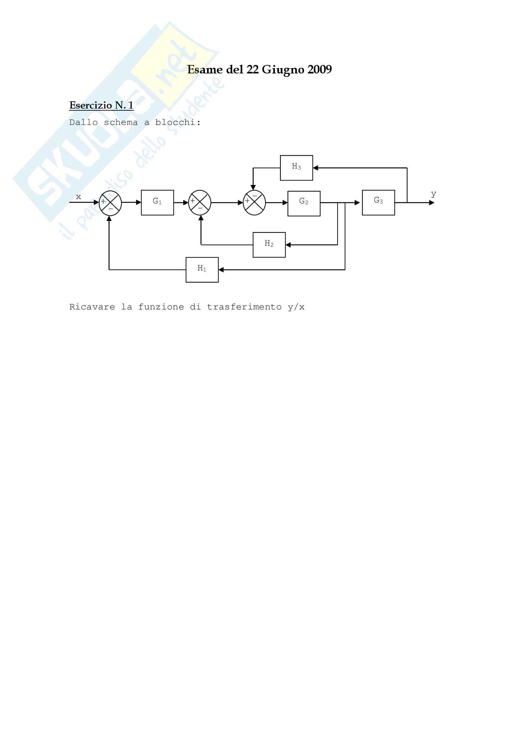21 Temi D'Esame dal 2008 al  2016, Controllo dei sistemi meccanici Pag. 11