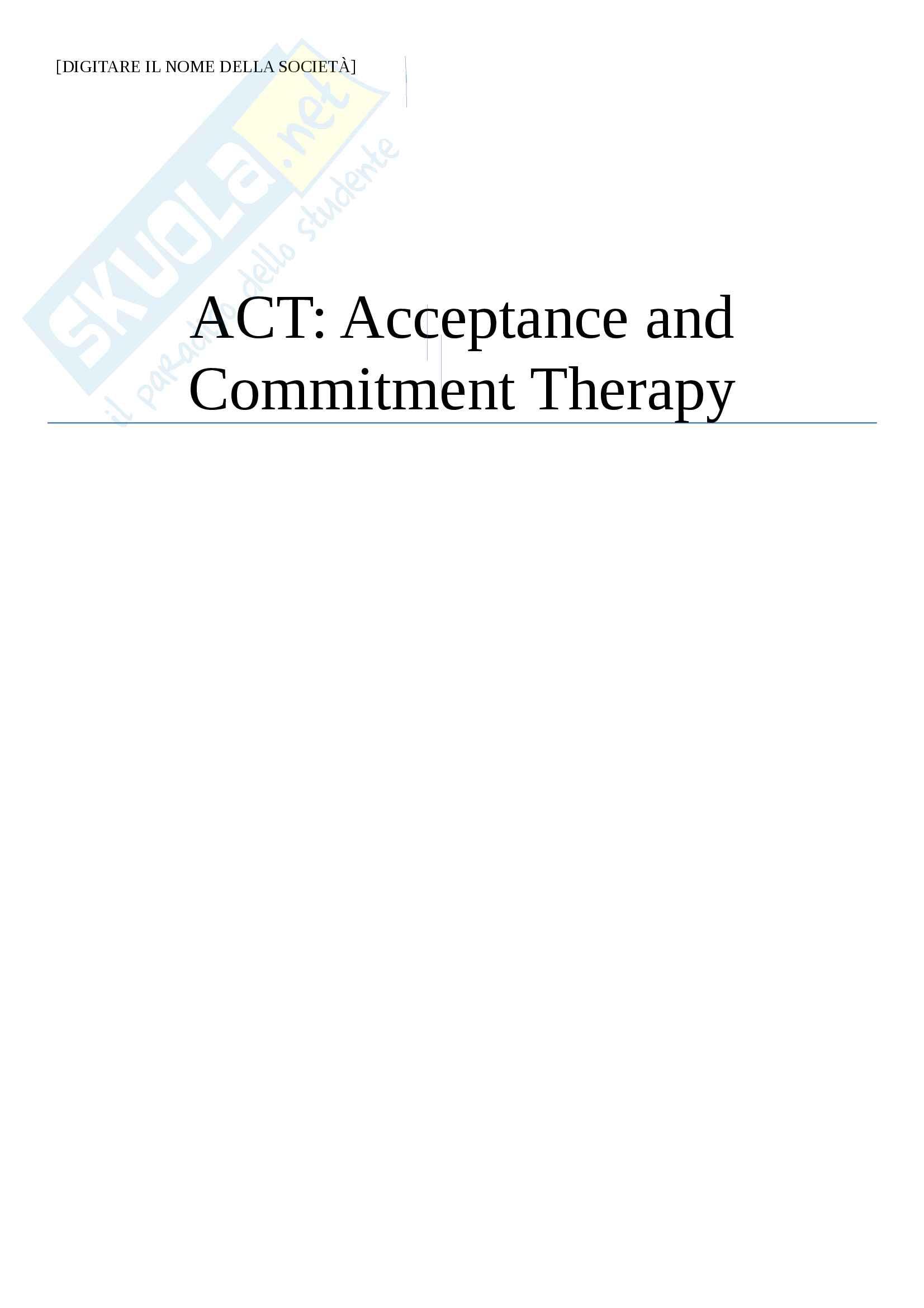 ACT Acceptance and Commitment Therapy, Psicologia della Salute
