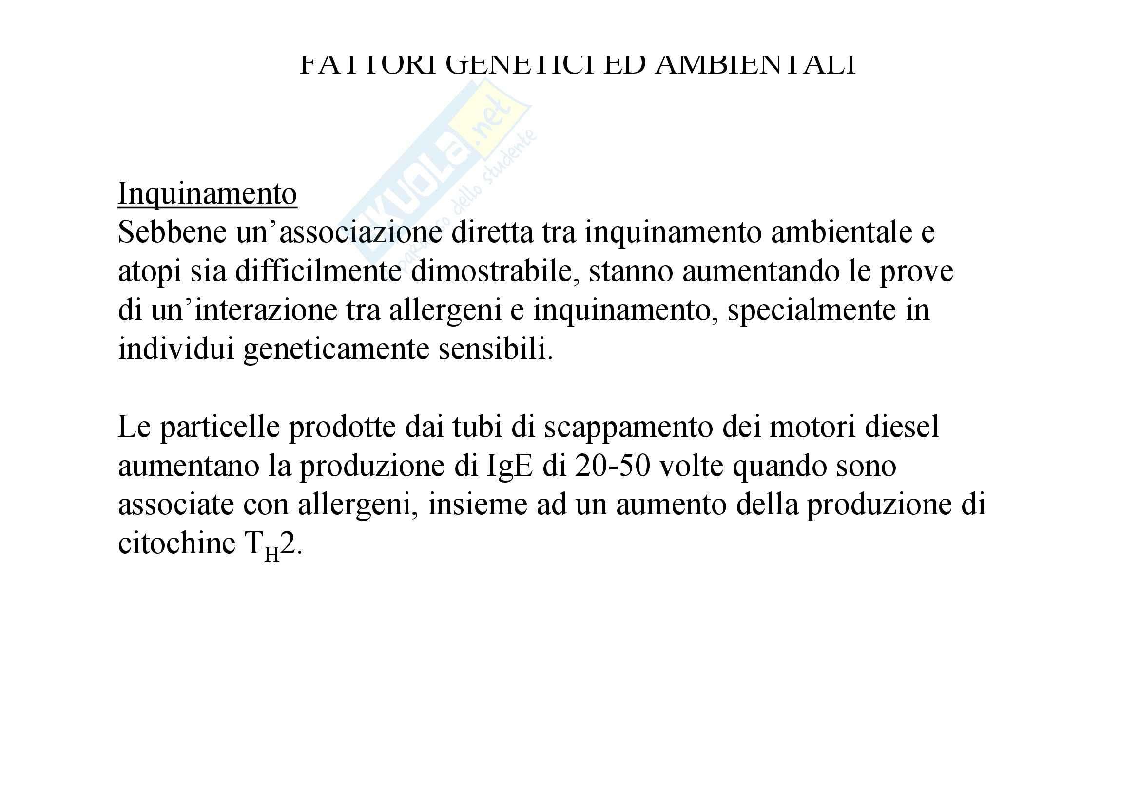 Immunologia - allergia fattori genetici e ambientali Pag. 11