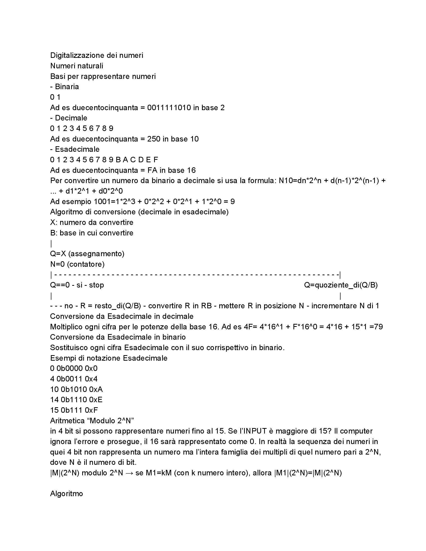 Informatica - Digitalizzazione dei numeri