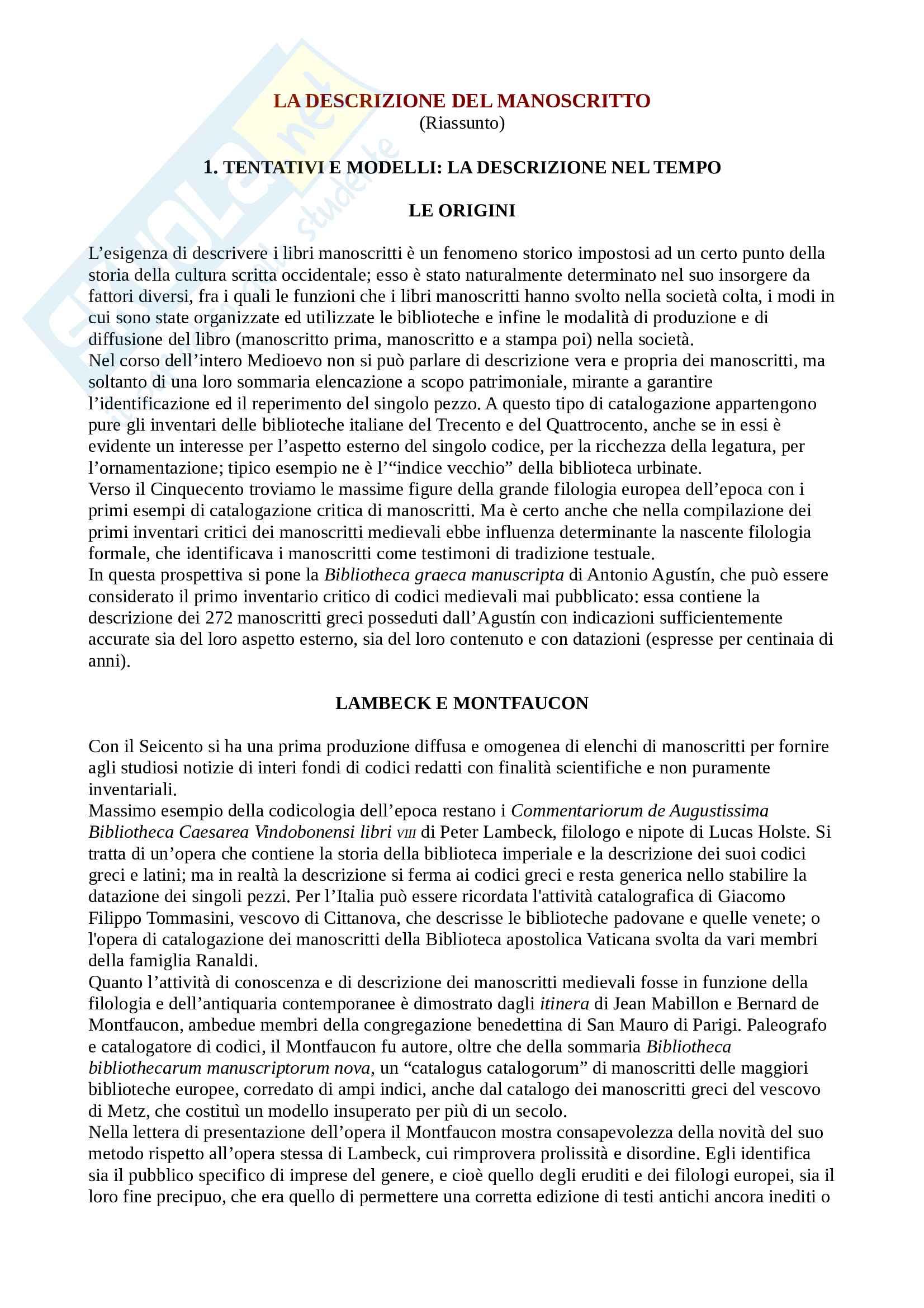 Riassunto esame Codicologia, prof. Eleuteri, libro consigliato La descrizione del manoscritto. Storia, problemi, modelli, Petrucci
