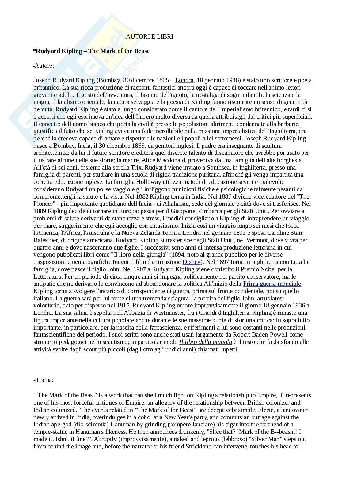 Letteratura inglese 1 - autori ed opere Pag. 1