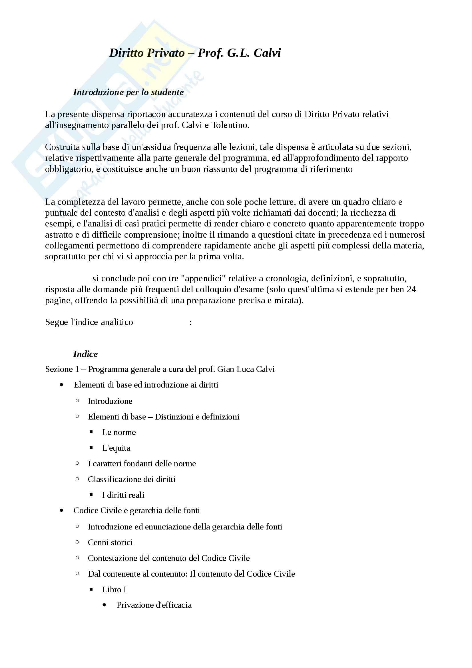 Riassunto esame Diritto, prof. Calvi, libro consigliato Manuale di Diritto Privato, Torrente, Schlesinger