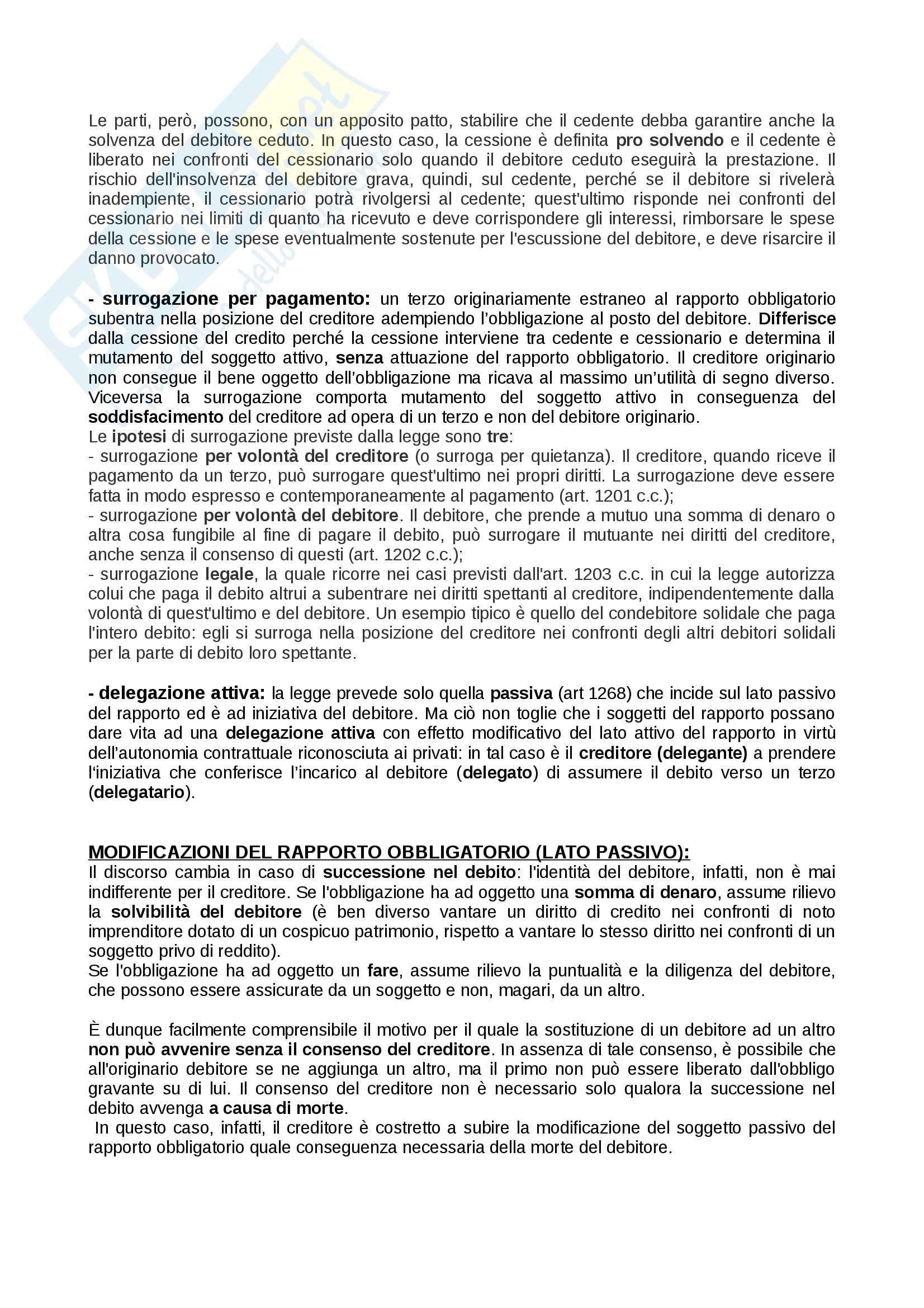 Riassunto esame Diritto privato: obbligazioni, prof. Rossi Pag. 6