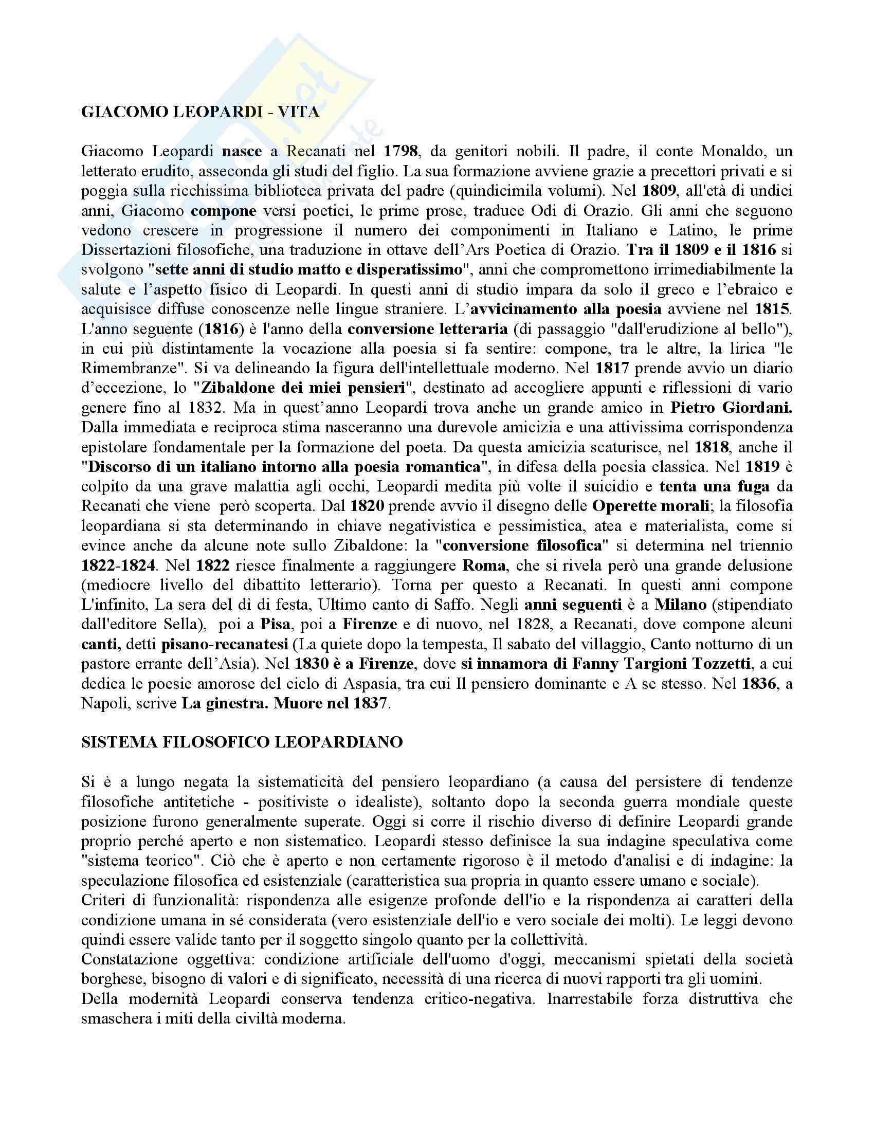 Letteratura italiana - Giacomo Leopardi