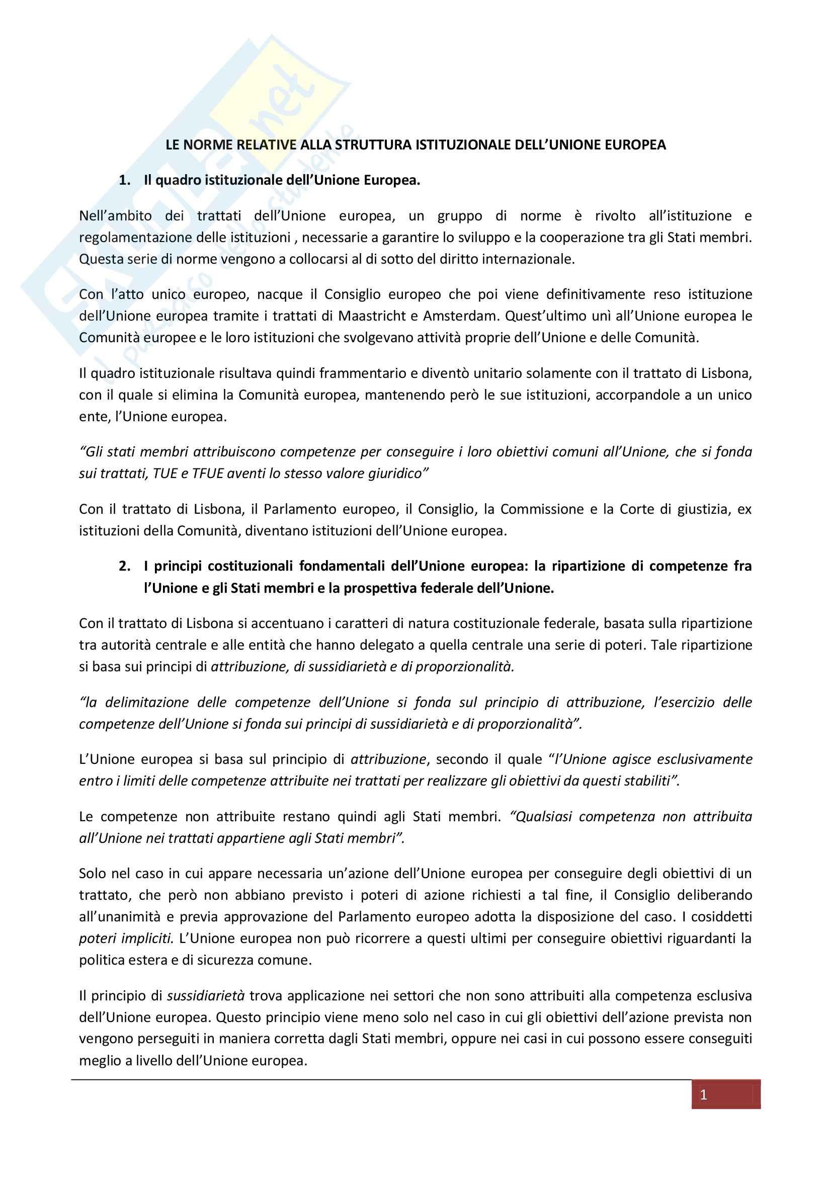 Riassunto esame Diritto dell'Unione Europea, prof. Piroddi, libro consigliato Diritto dell'Unione Europea, Pocar