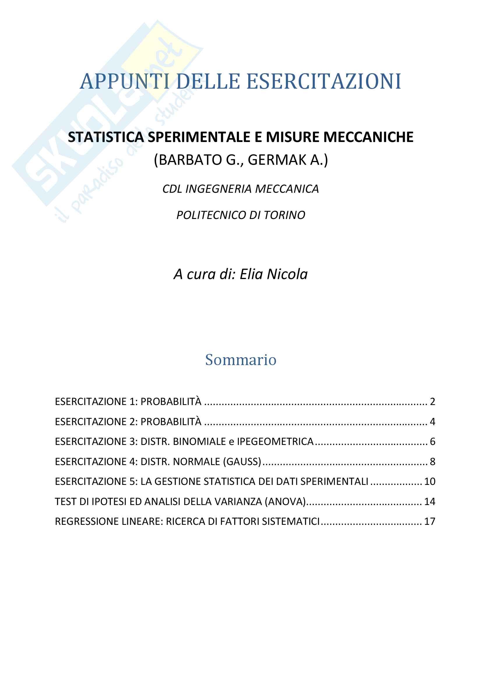 Appunti delle Esercitazioni (prof. Barbato G., Germak A.)