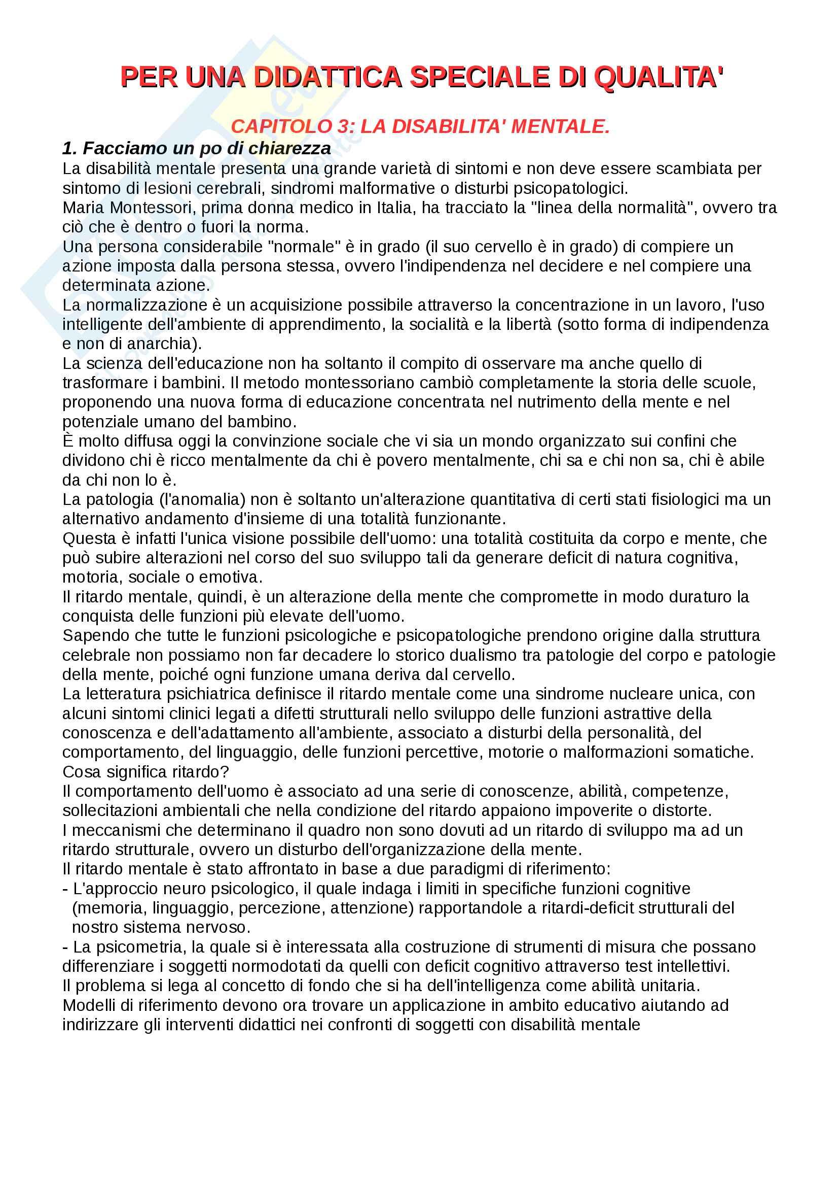 Riassunto Pedagogia Speciale, Prof Cottini Lucio