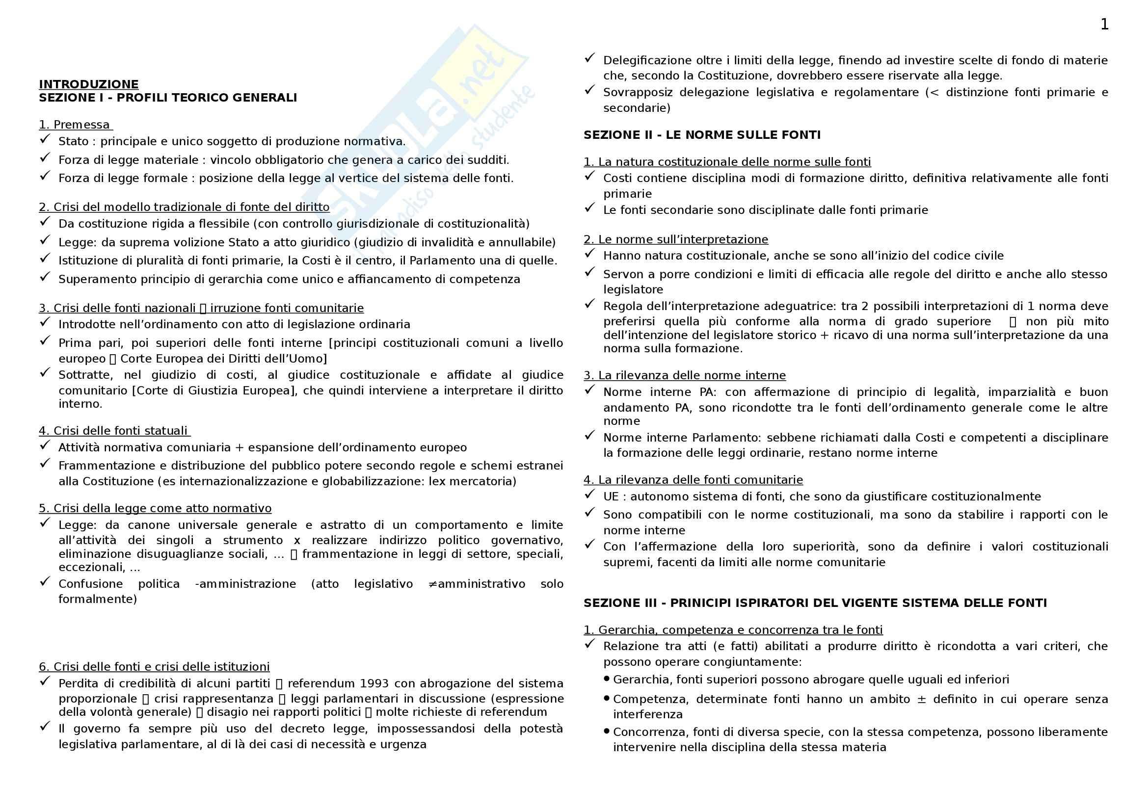 Riassunto esame Diritto costituzionale I, prof. D'Andrea, libro consigliato Le fonti del Diritto Italiano, Sorrentino