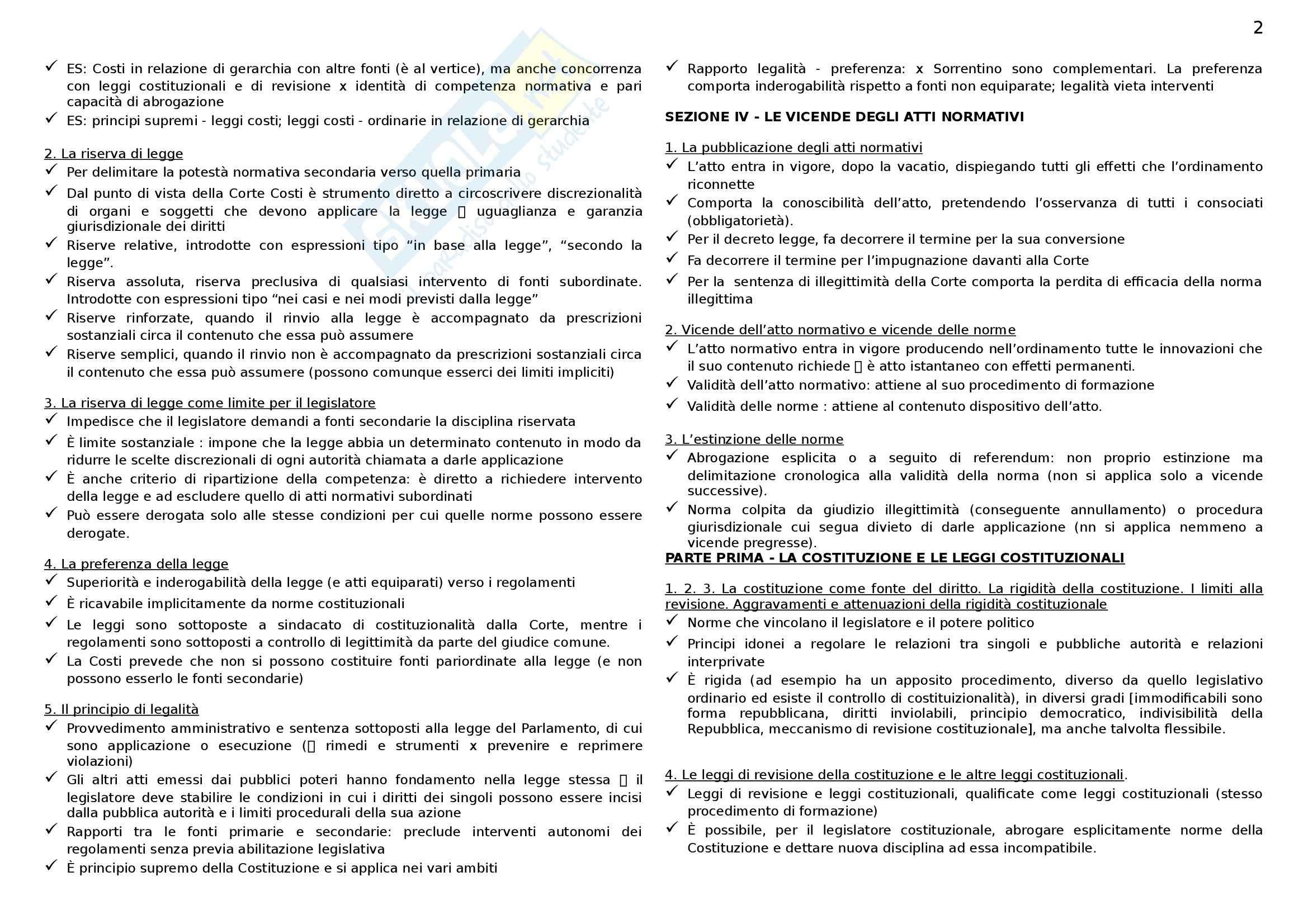 Riassunto esame Diritto costituzionale I, prof. D'Andrea, libro consigliato Le fonti del Diritto Italiano, Sorrentino Pag. 2