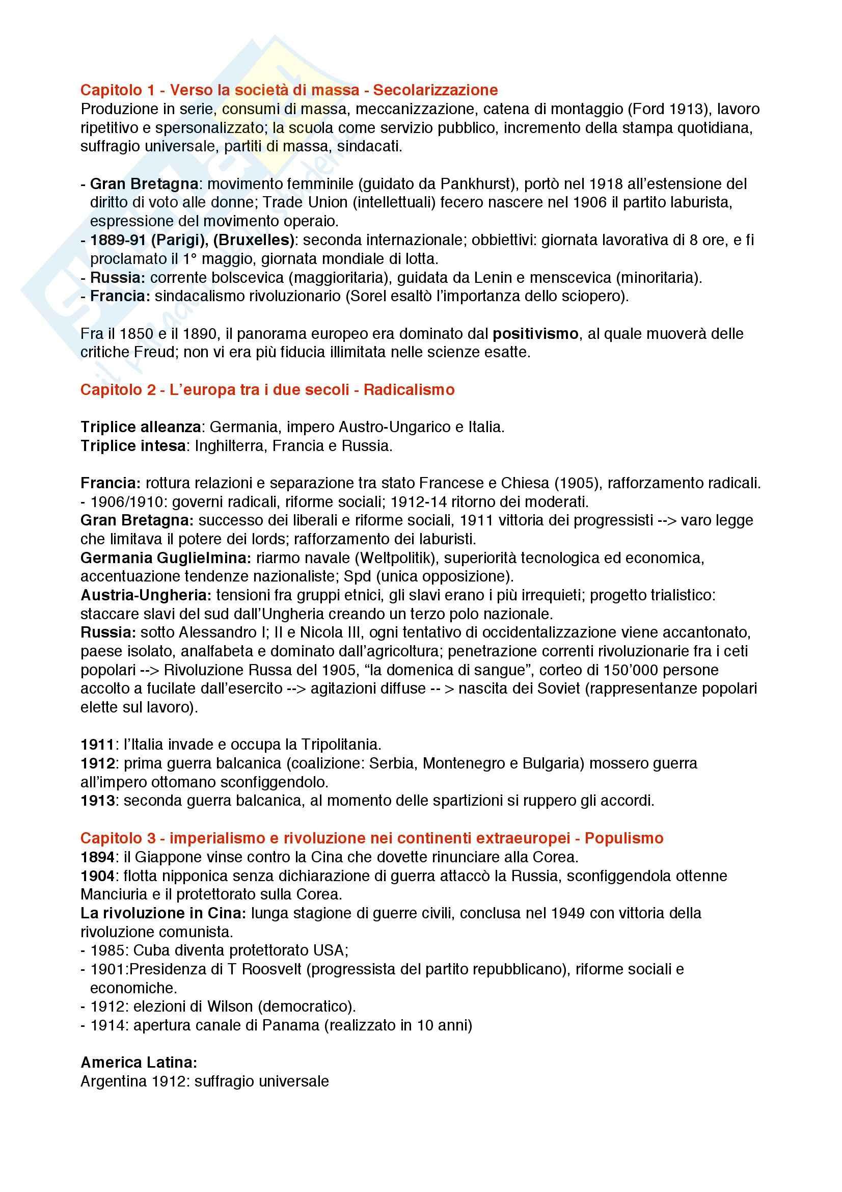 Riassunto esame Storia Contemporanea, prof. Merolla, libro consigliato Storia Contemporanea, Sabbatucci