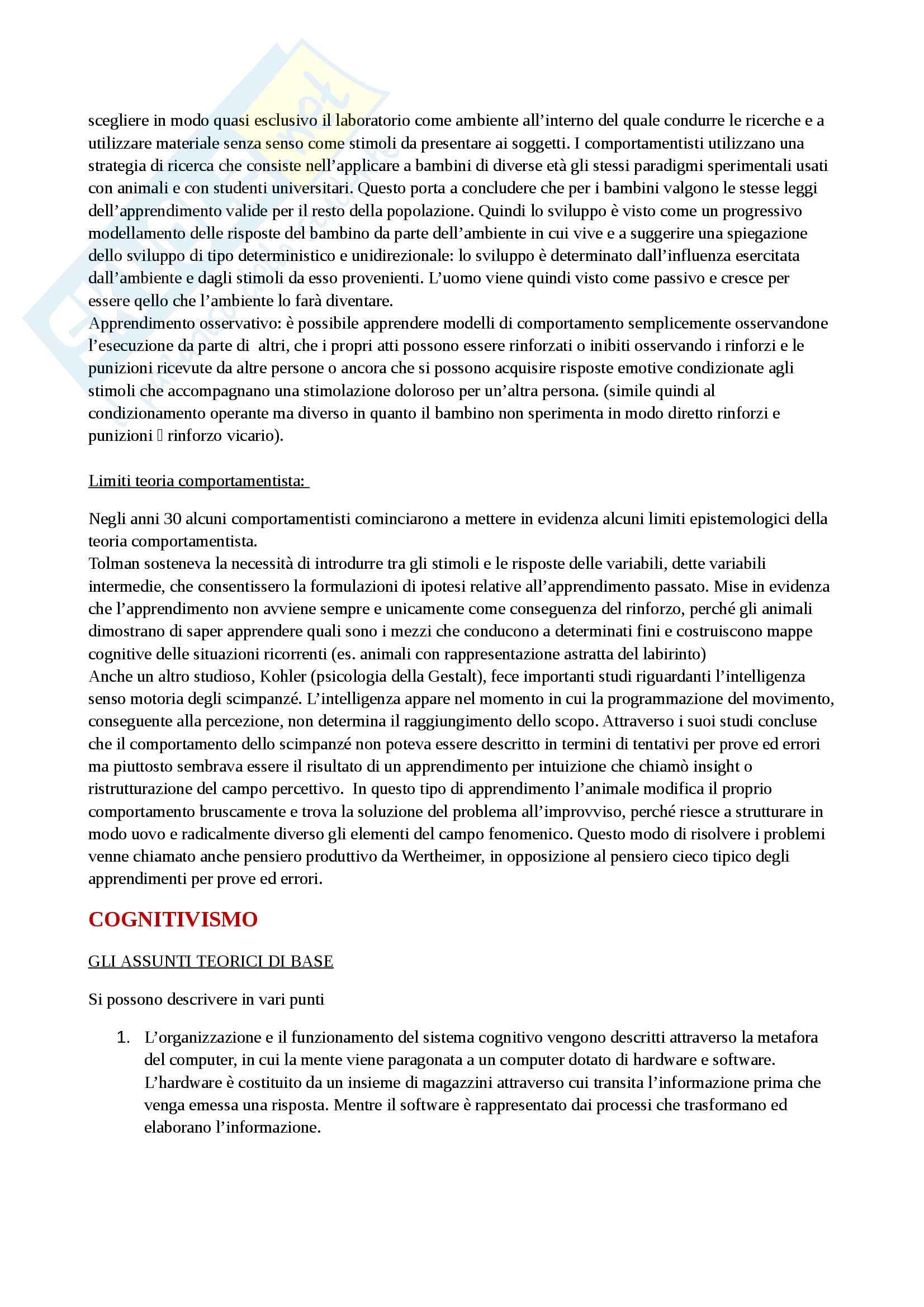 """Riassunto esame Psicologia dello Sviluppo Cognitivo, prof.ssa Simion, libro consigliato """"Macchi Cassia V., Valenza E., Simion F., Lo sviluppo della mente umana"""" Pag. 2"""