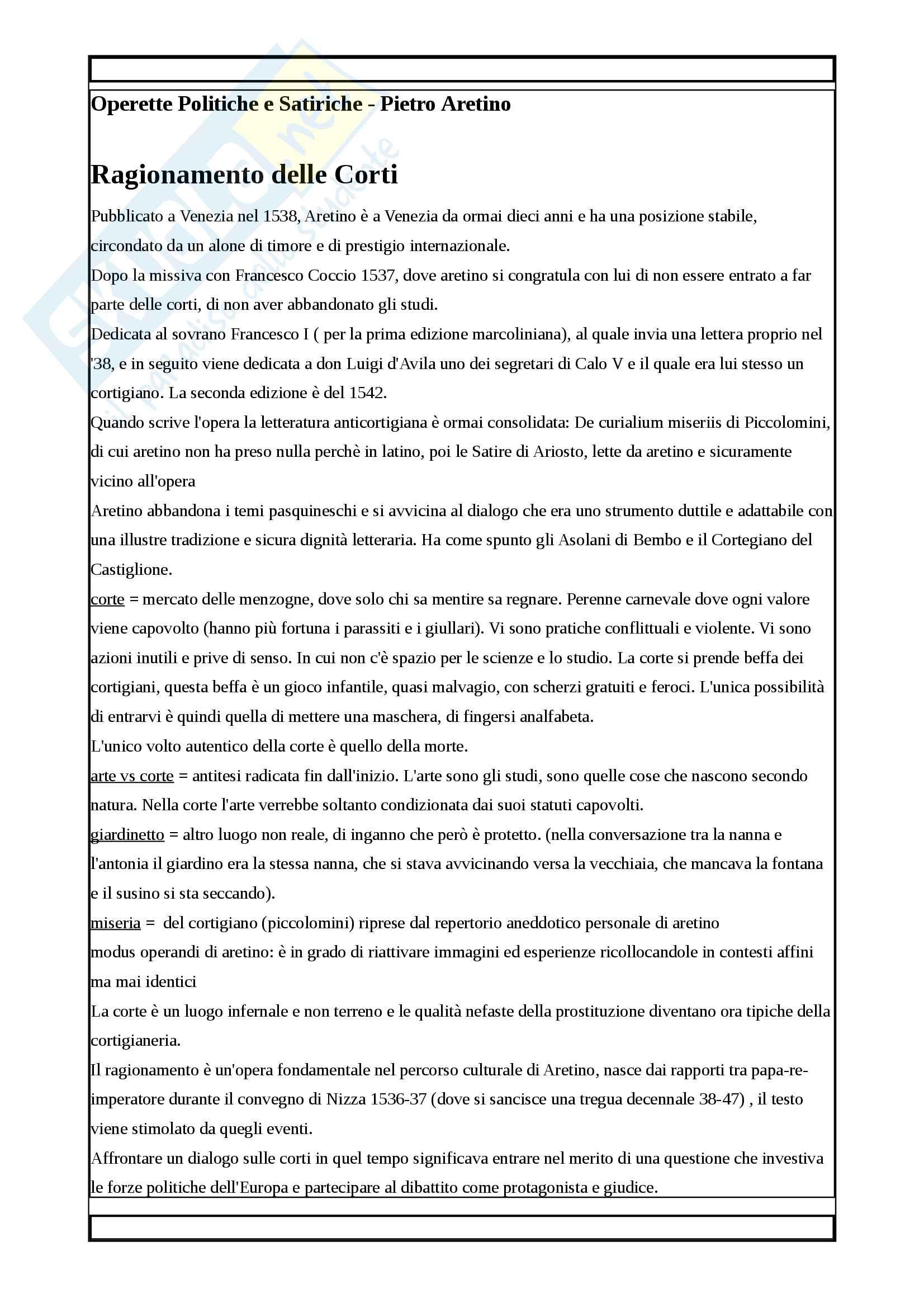 Riassunto per l'esame di Letteratura Italiana, prof. Crimi, libro consigliato Operette Politiche e Satiriche, Pietro Aretino