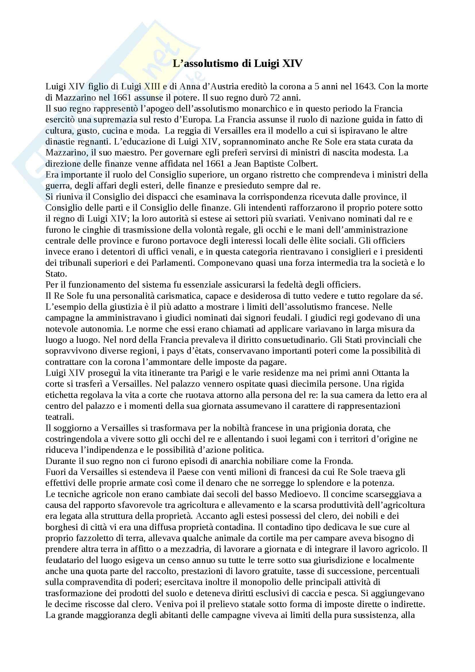 Storia moderna - assolutismo di Luigi XIV