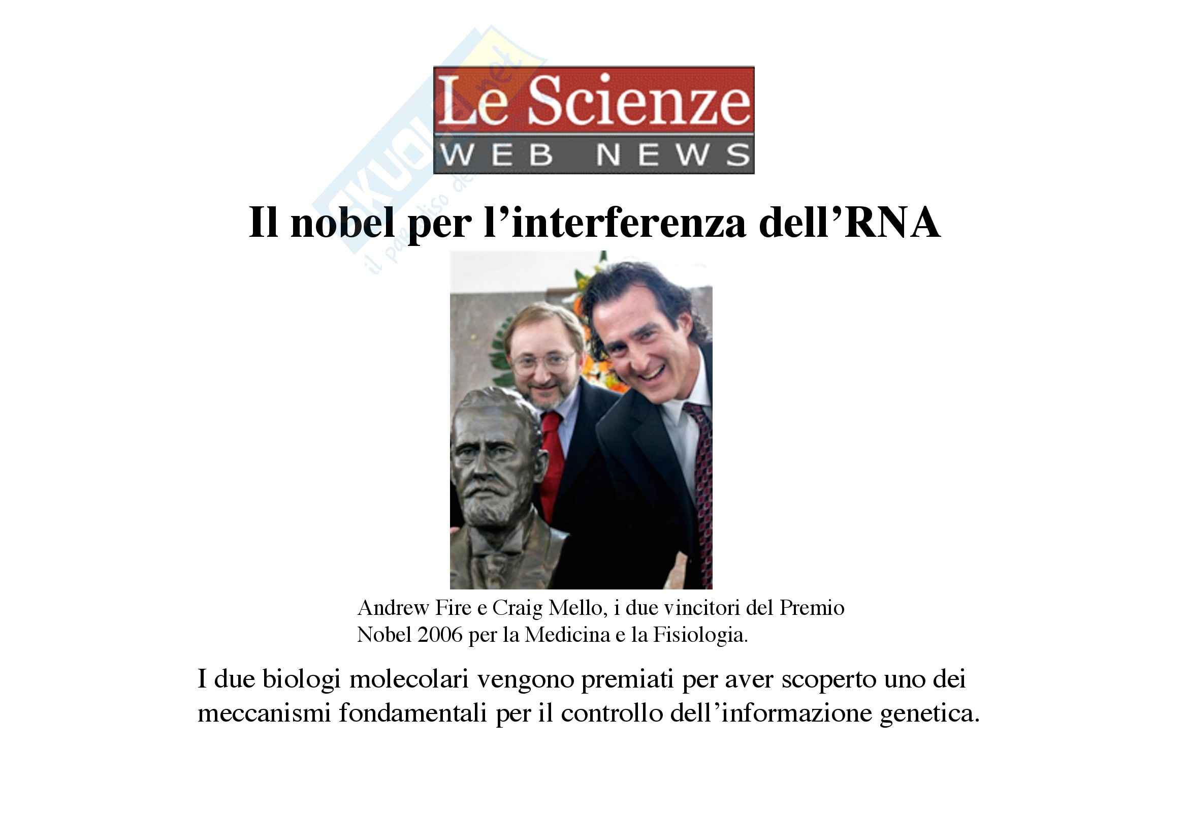 Genetica umana - ncRNA - Appunti