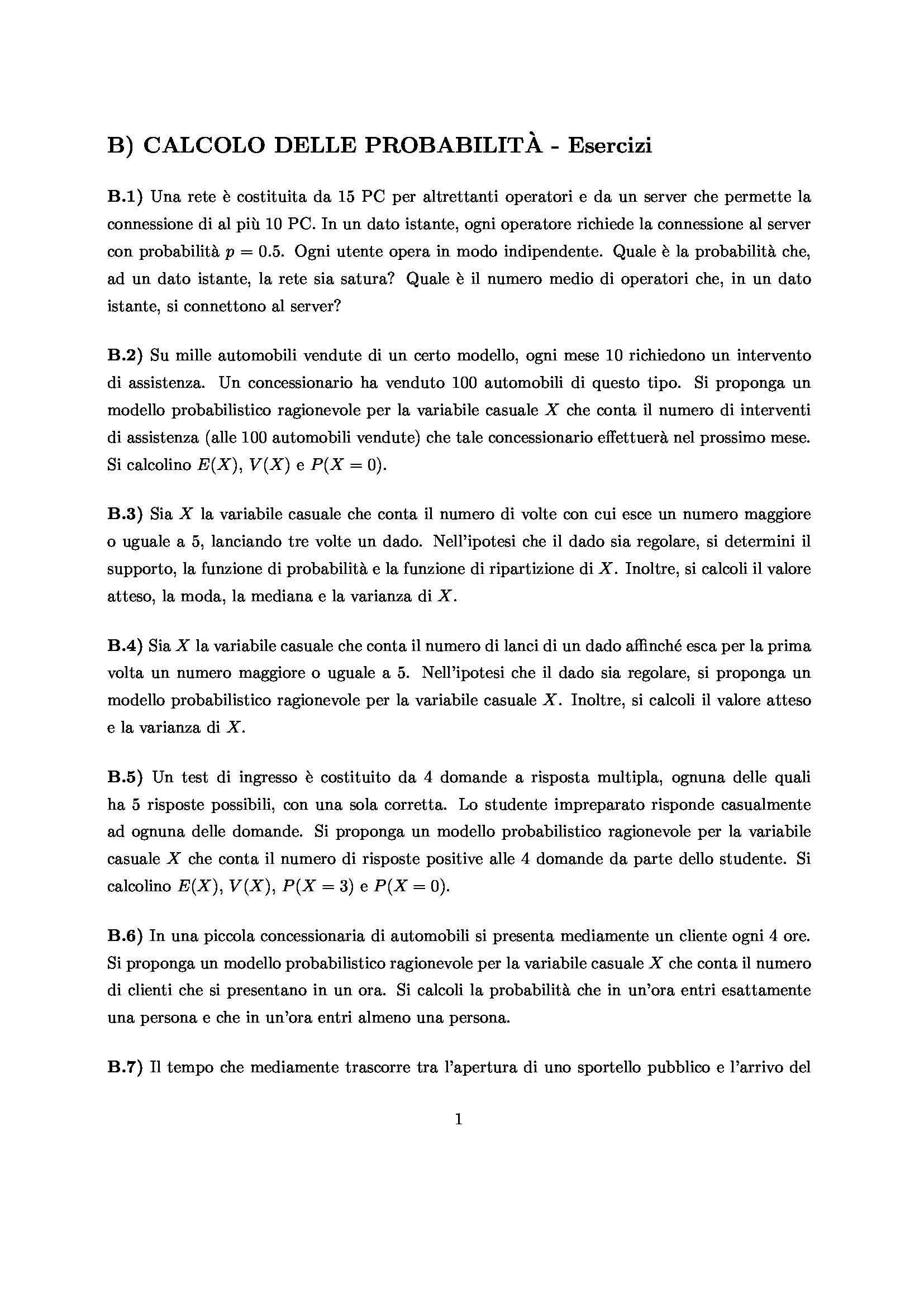 Statistica per la ricerca sperimentale - Calcolo delle probabilità