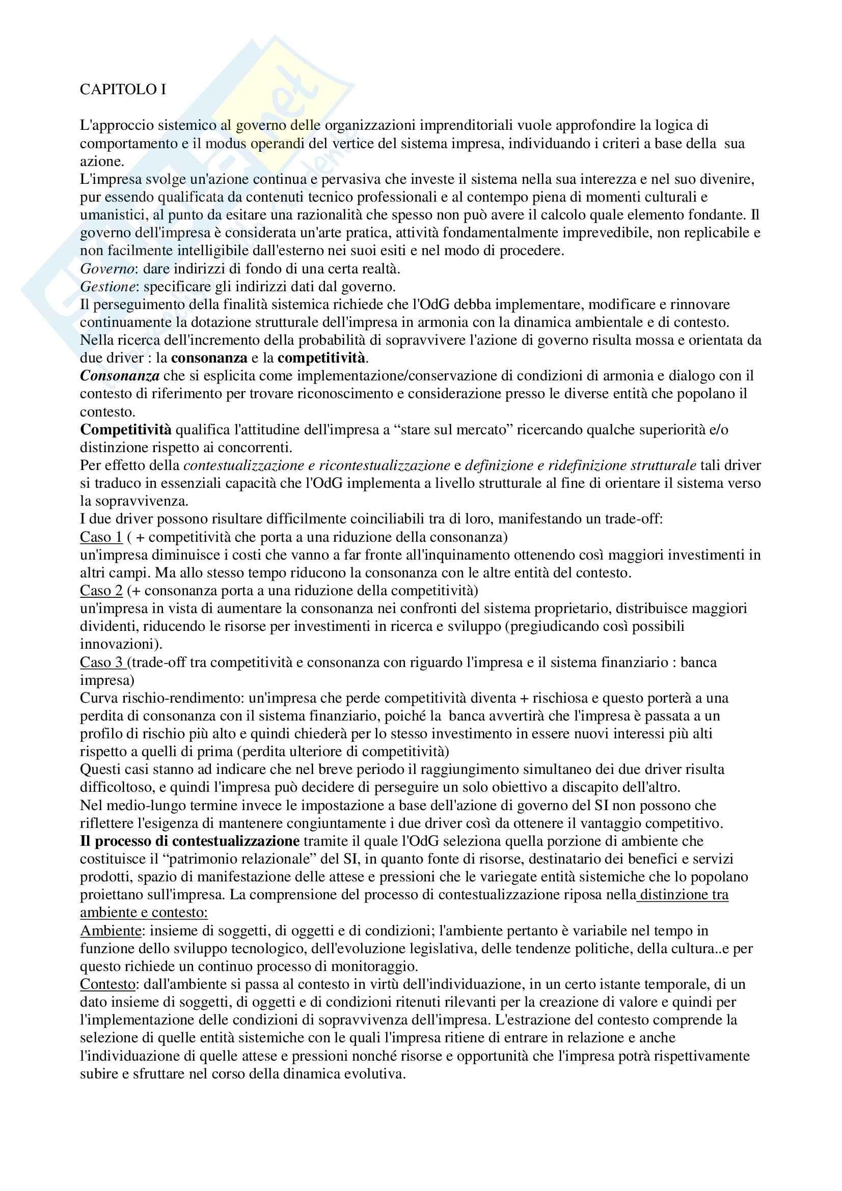 Riassunto esame Gestione delle Imprese, prof. Gatti, libro consigliato L'Approccio Sistemico Vitale al Governo dell'Impresa, Golinelli