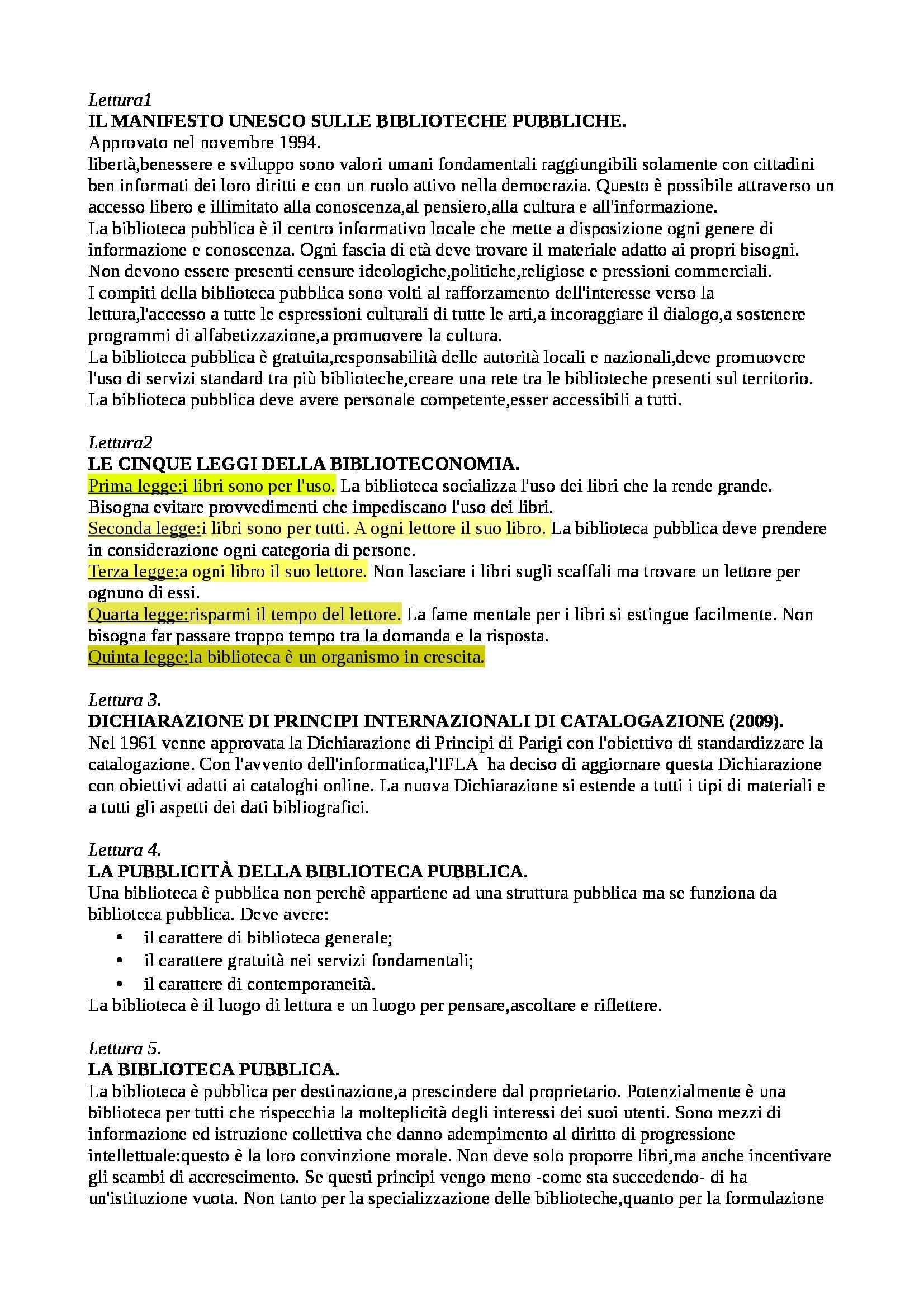 Riassunto esame Biblioteconomia: sulle letture, prof. Montecchi