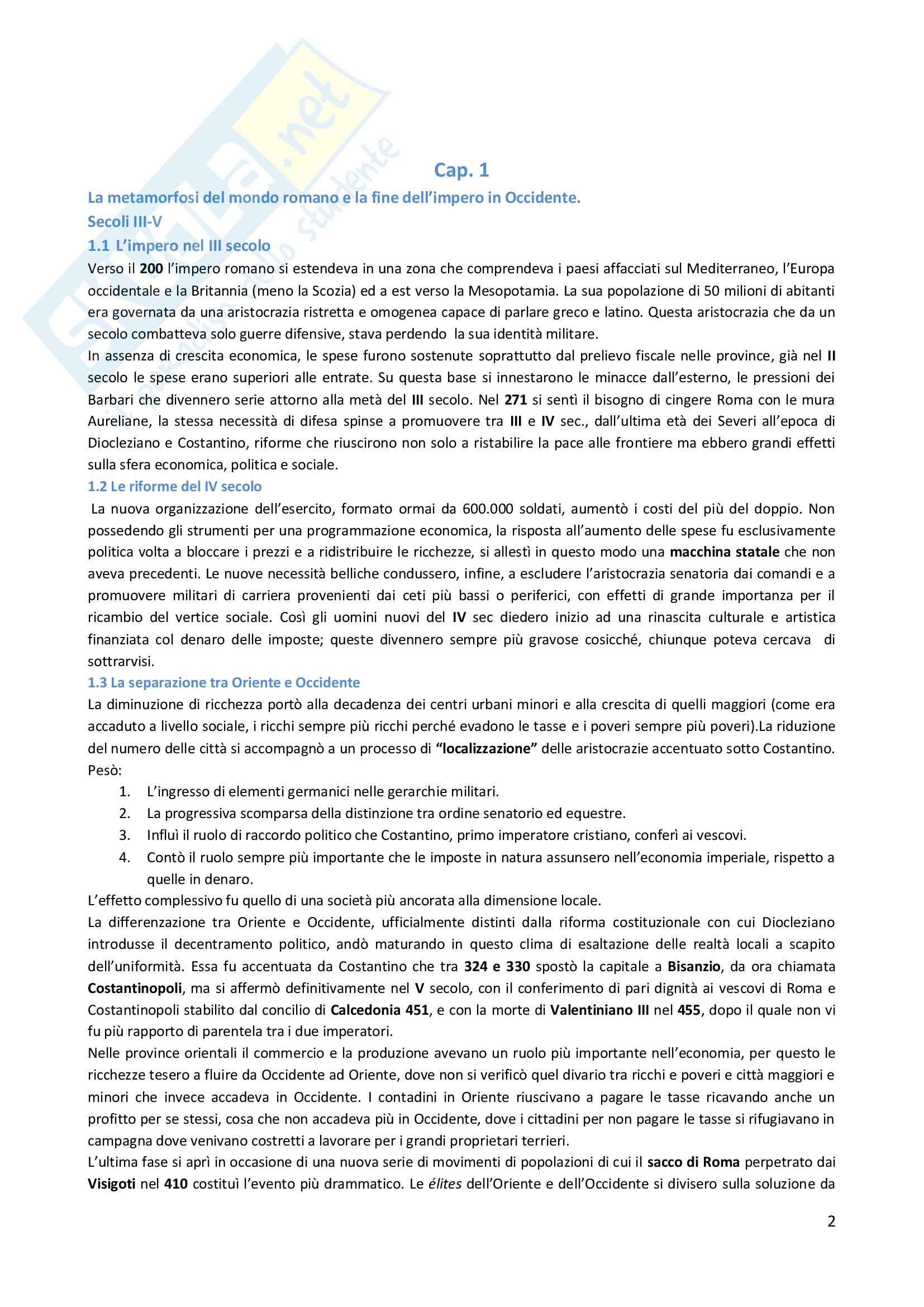 Riassunto esame Storia Medievale, prof. Esposito, libro consigliato Manuale Storia Medievale, Montanari