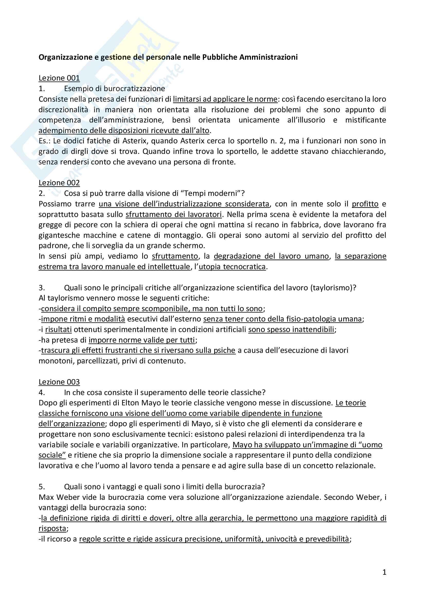 """Risposte alle domande aperte dell'esame """"Organizzazione e gestione del personale nelle Pubbliche Amministrazioni"""""""