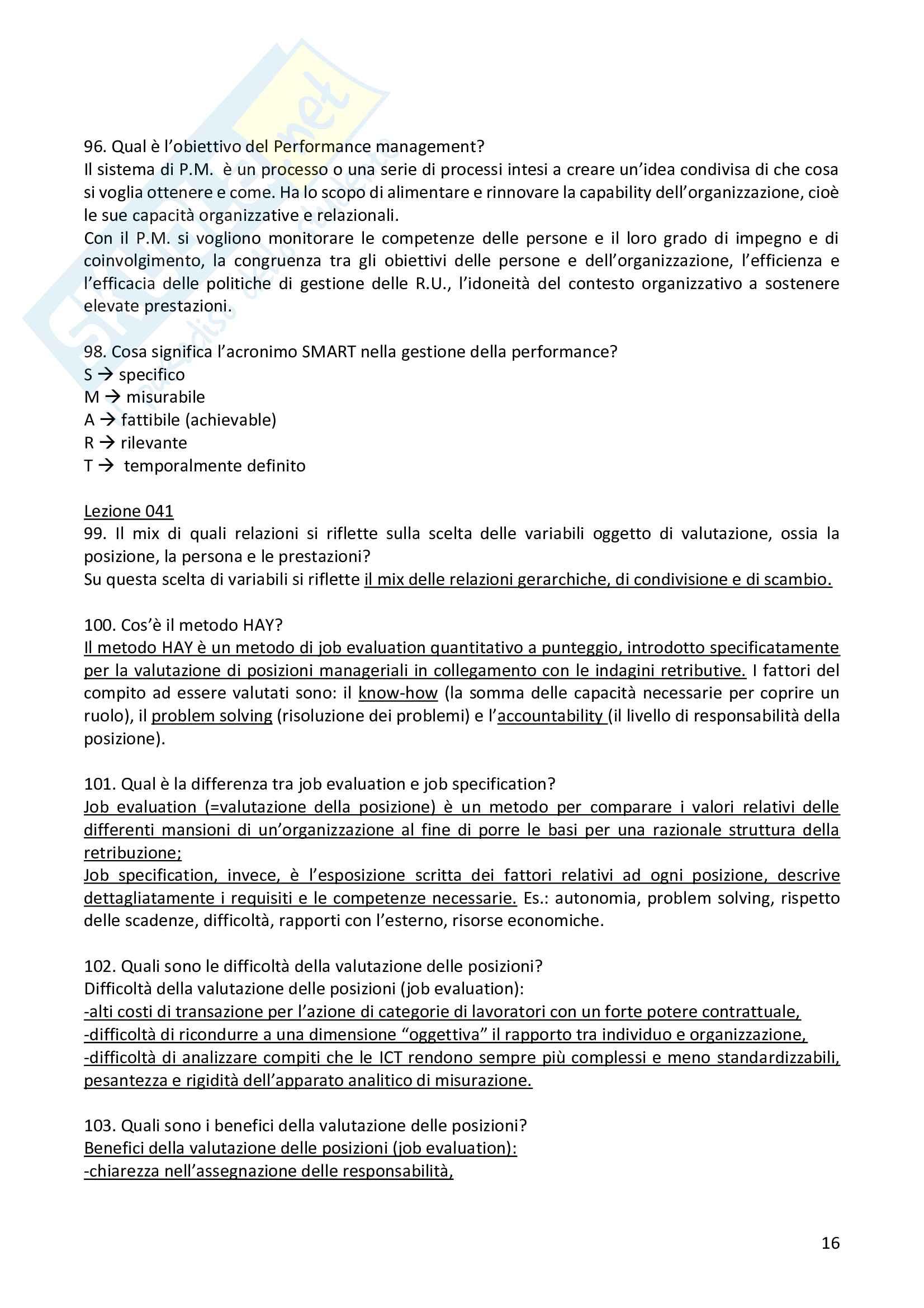 """Risposte alle domande aperte dell'esame """"Organizzazione e gestione del personale nelle Pubbliche Amministrazioni"""" Pag. 16"""