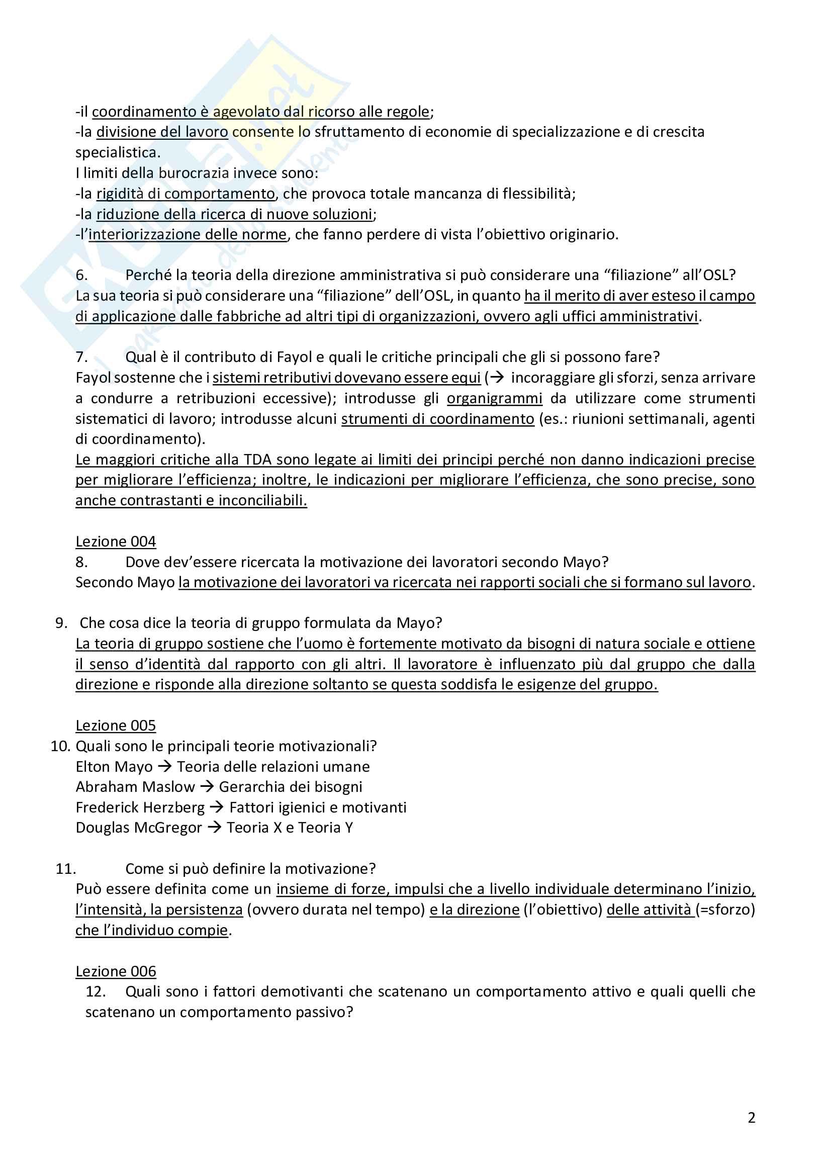 """Risposte alle domande aperte dell'esame """"Organizzazione e gestione del personale nelle Pubbliche Amministrazioni"""" Pag. 2"""