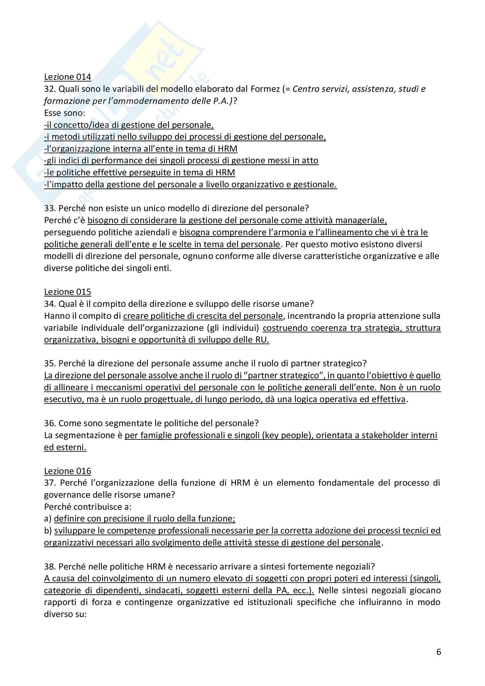 """Risposte alle domande aperte dell'esame """"Organizzazione e gestione del personale nelle Pubbliche Amministrazioni"""" Pag. 6"""