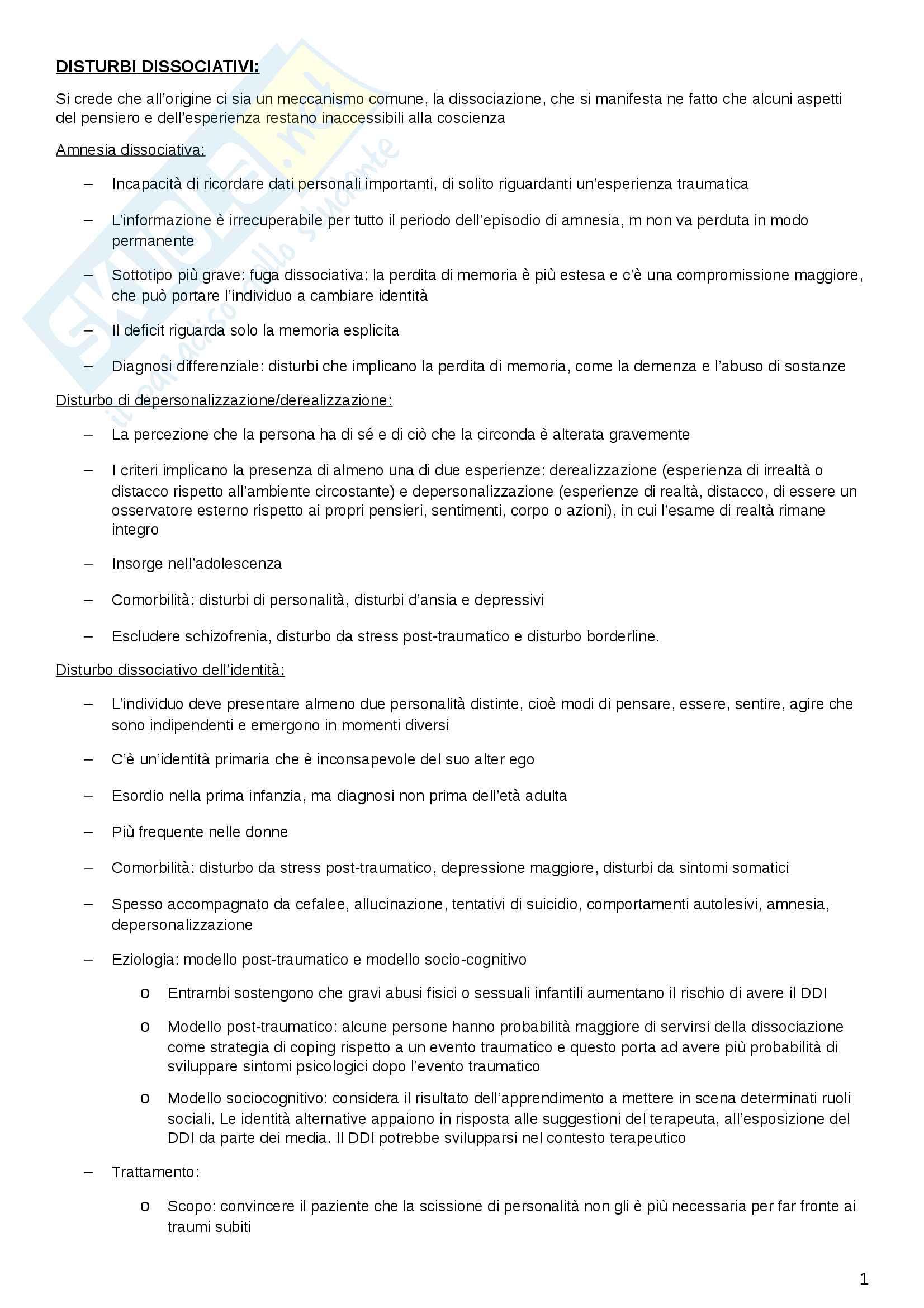Riassunto DSM-V: disturbi e criteri