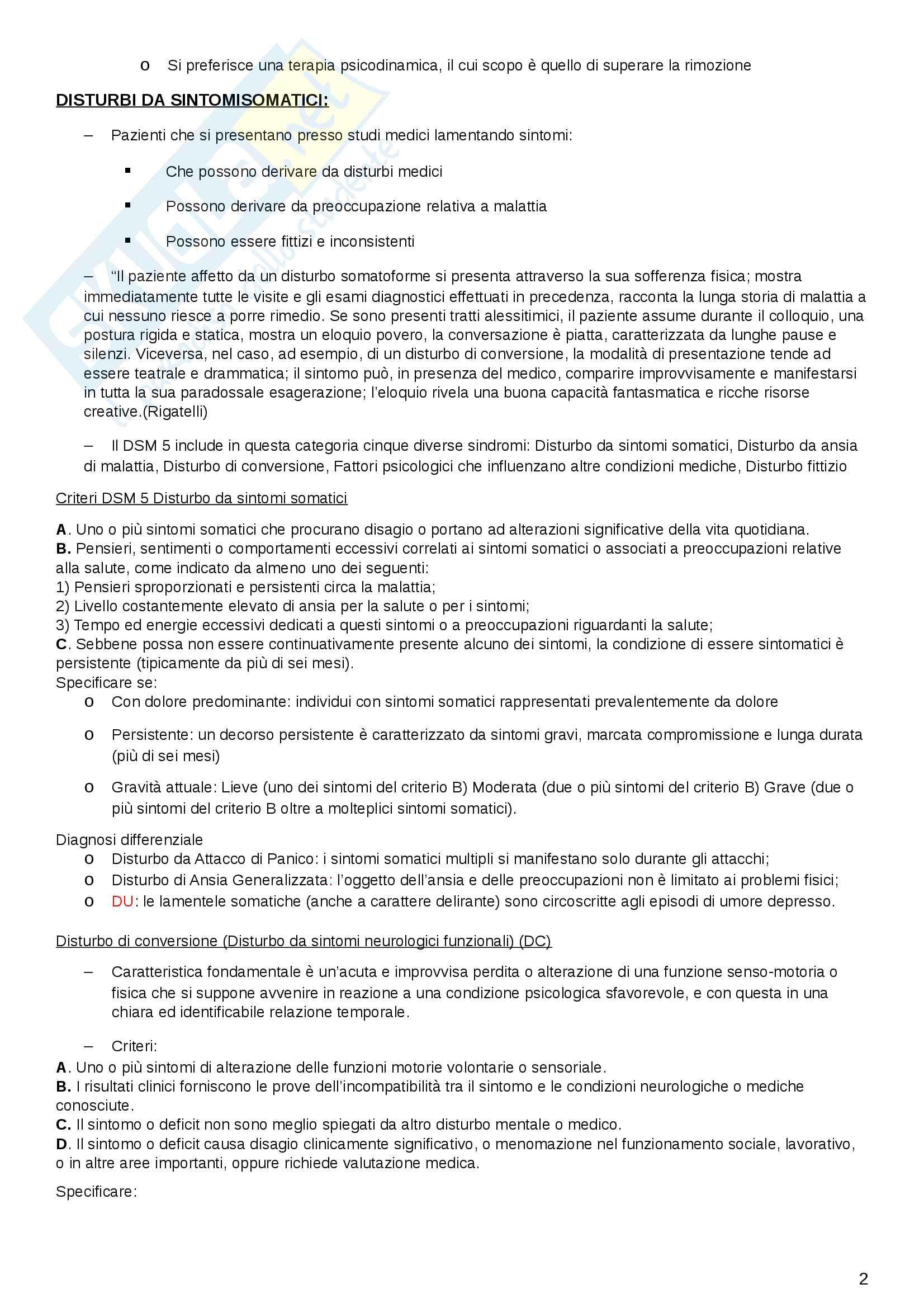 Riassunto DSM-V: disturbi e criteri Pag. 2