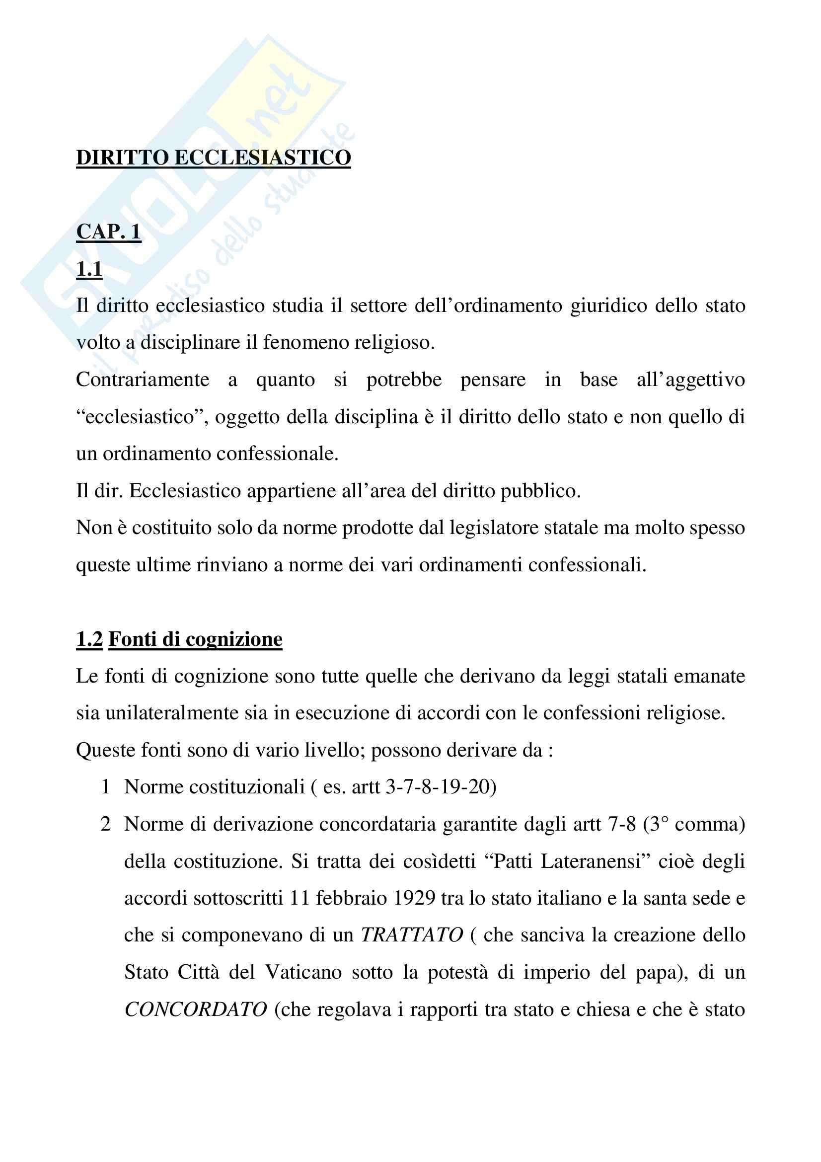 Riassunto esame Diritto Ecclesiastico, prof. Cimbalo, libro consigliato Diritto Ecclesiastico, Finocchiaro