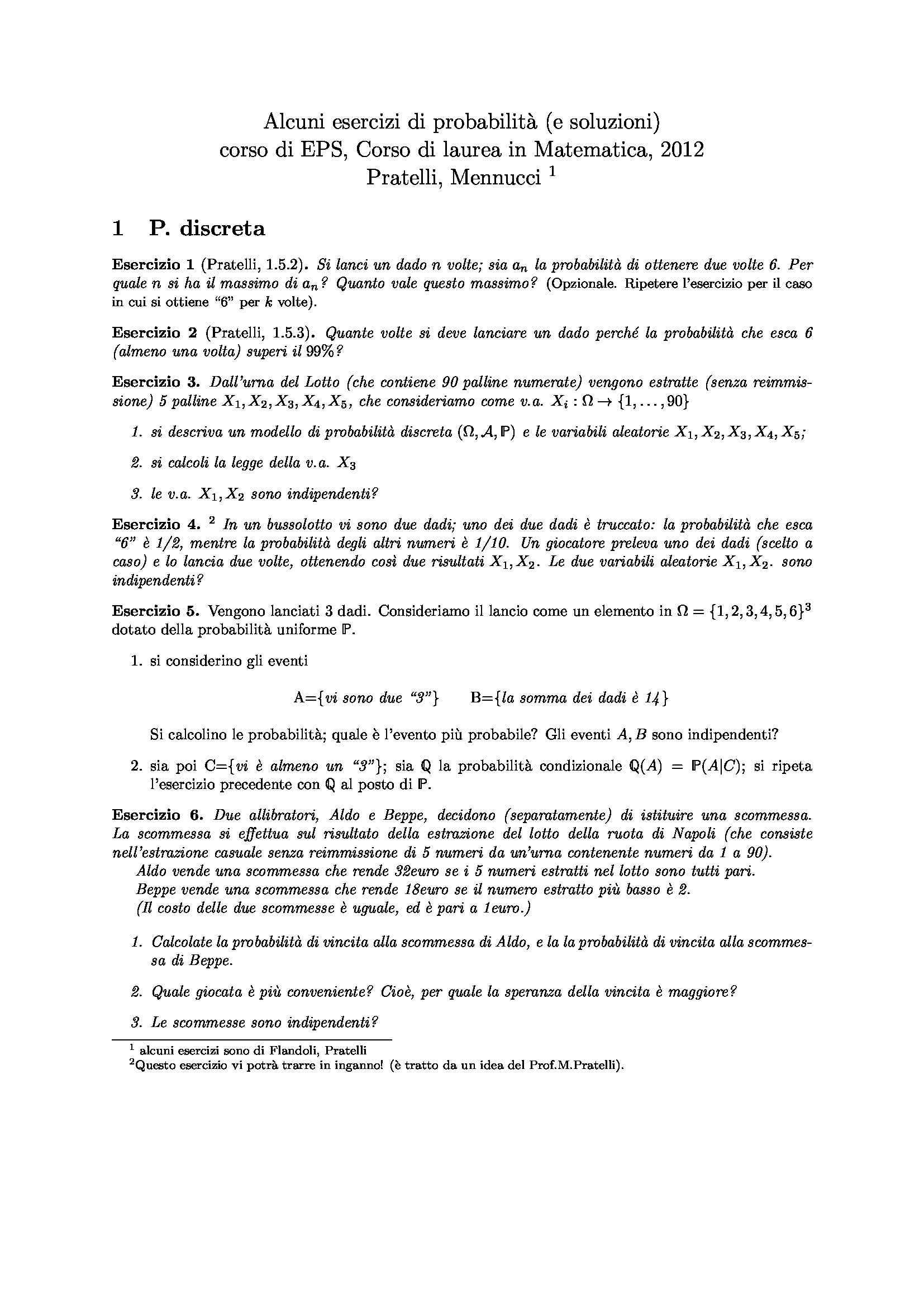 esercitazione A. Mennucci Elementi di Probabilità e Statistica