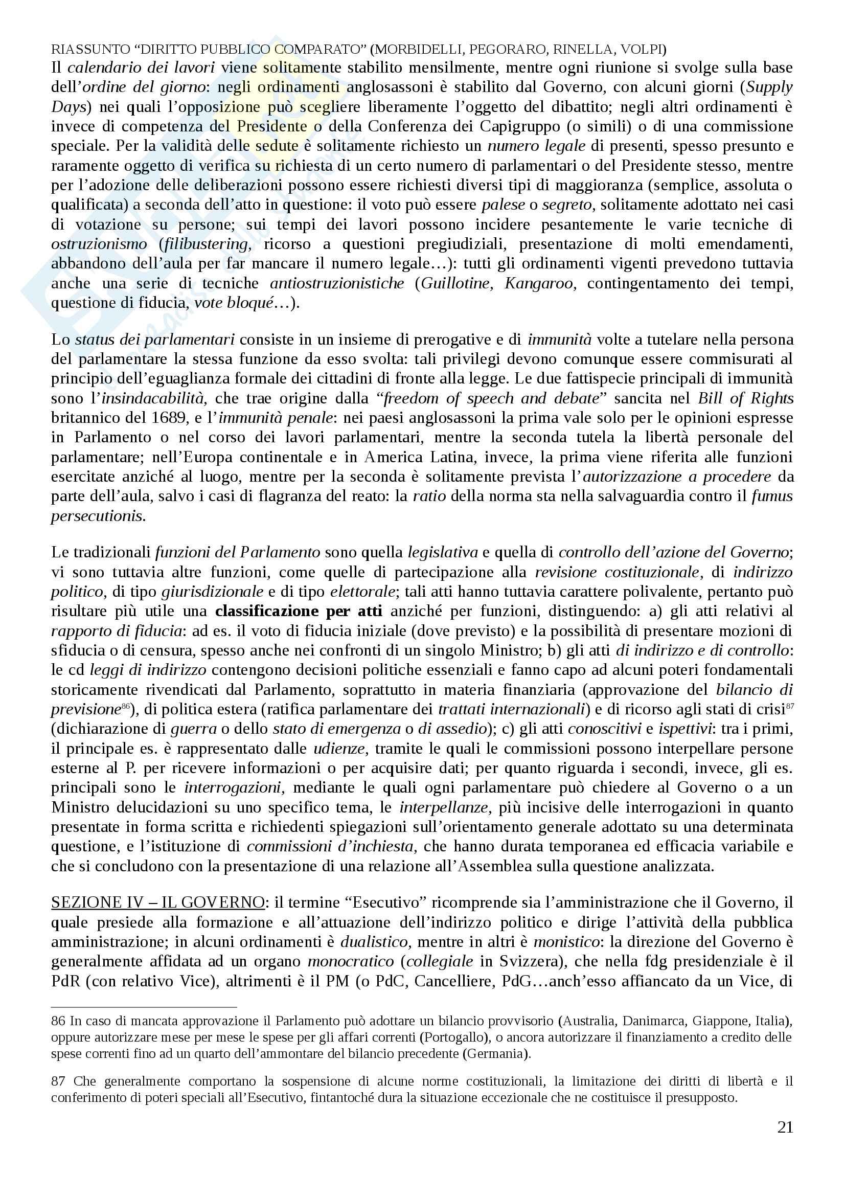 Riassunto esame Diritto Pubblico Comparato, prof. Decaro, libro consigliato Diritto Pubblico Comparato, Morbidelli, L. Pegoraro, A. Reposo, M. Volpi Pag. 21