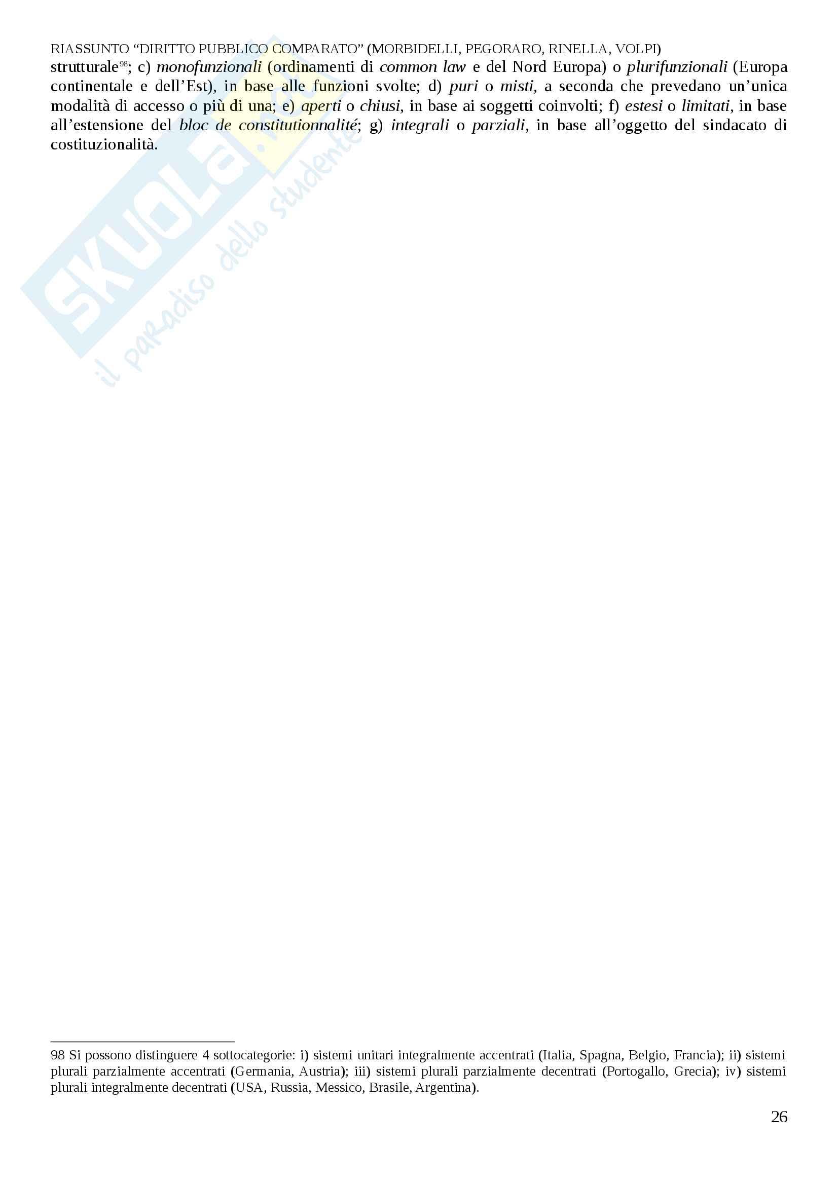Riassunto esame Diritto Pubblico Comparato, prof. Decaro, libro consigliato Diritto Pubblico Comparato, Morbidelli, L. Pegoraro, A. Reposo, M. Volpi Pag. 26