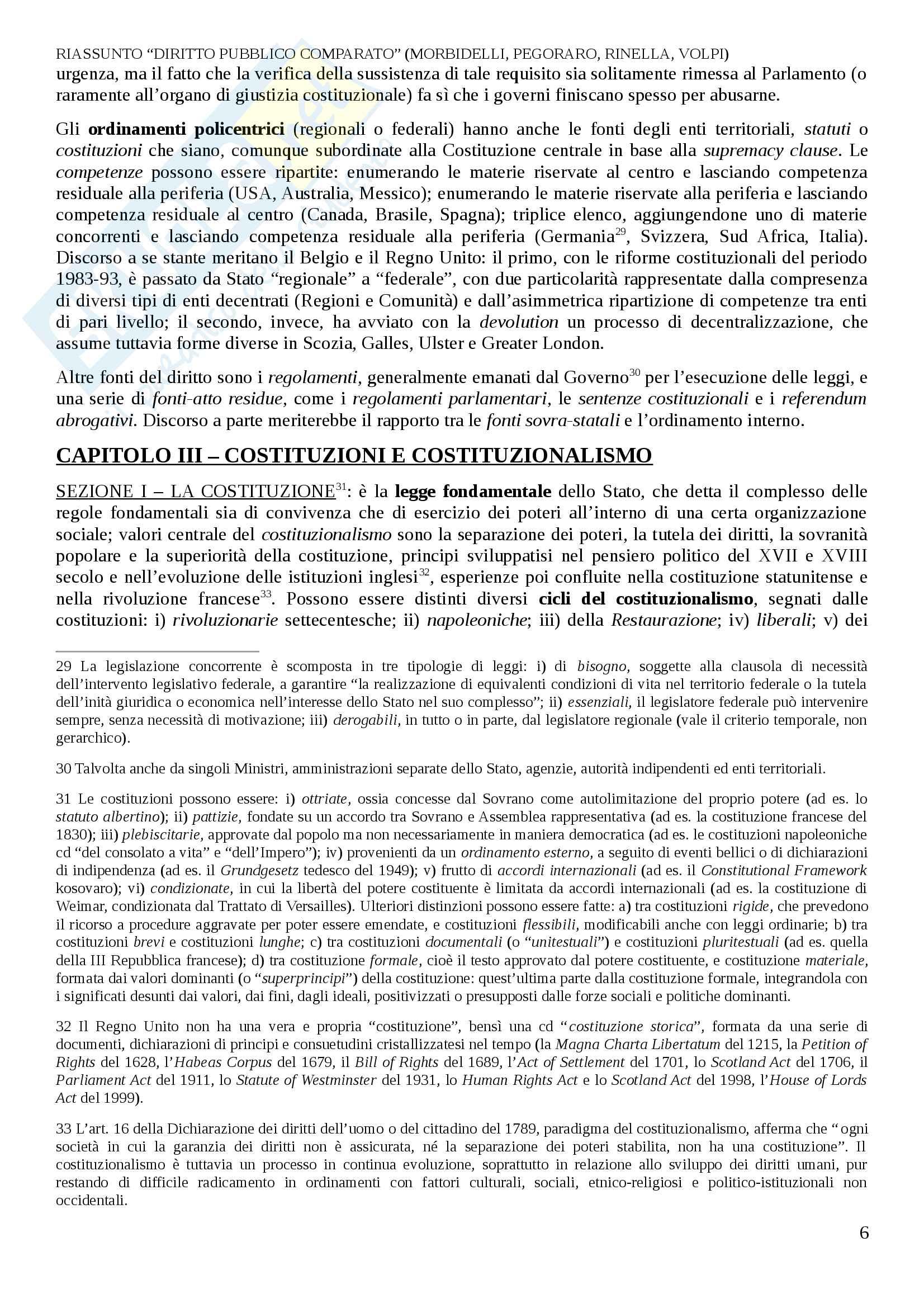 Riassunto esame Diritto Pubblico Comparato, prof. Decaro, libro consigliato Diritto Pubblico Comparato, Morbidelli, L. Pegoraro, A. Reposo, M. Volpi Pag. 6