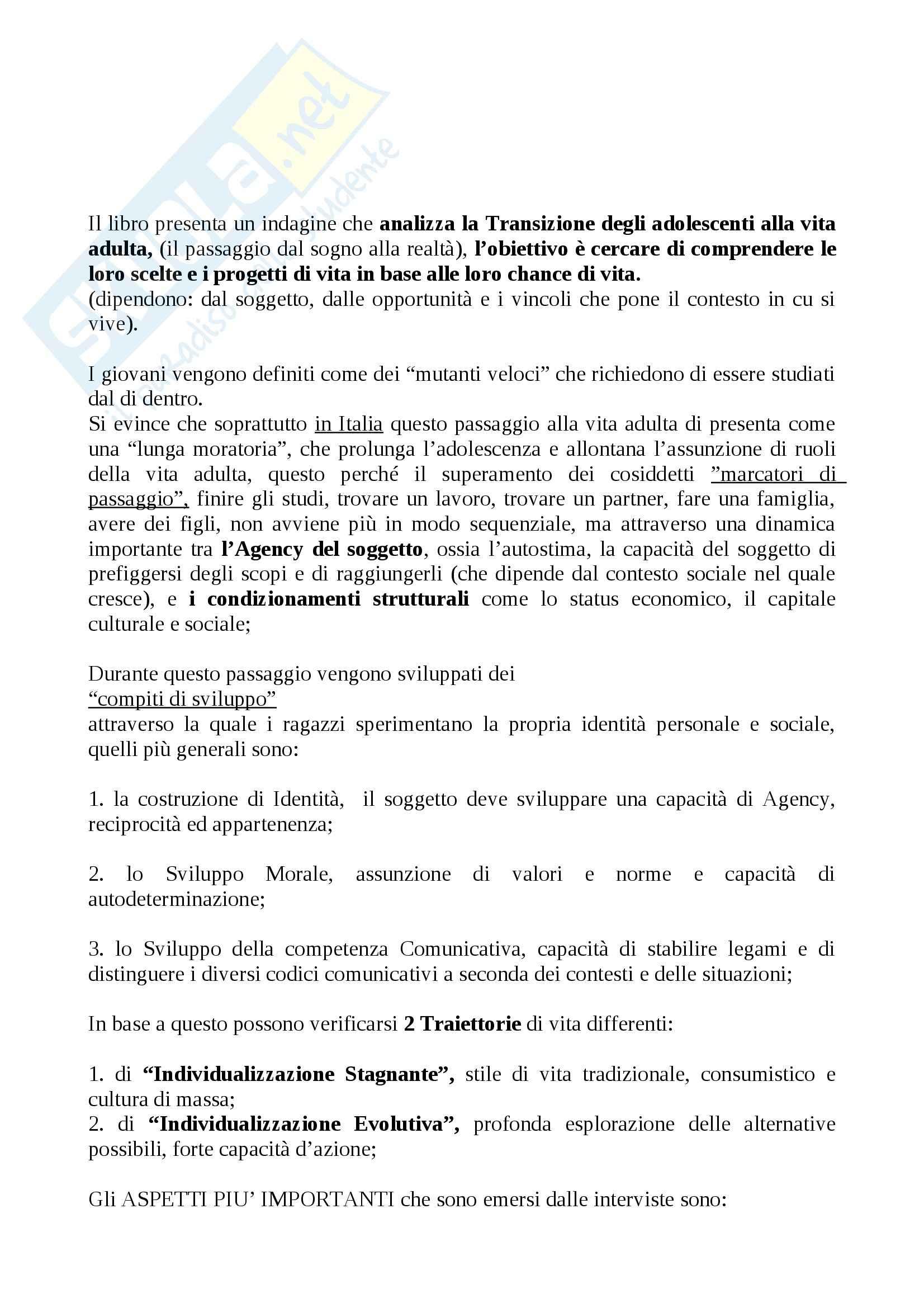 Riassunto esame Sociologia, prof. Scardigno, libro consigliato Tra sogni e realtà, Besozzi